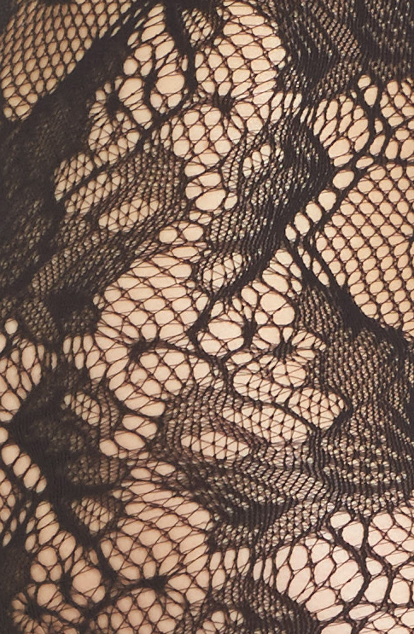 Louise Floral Fishnet Tights,                             Alternate thumbnail 2, color,                             008