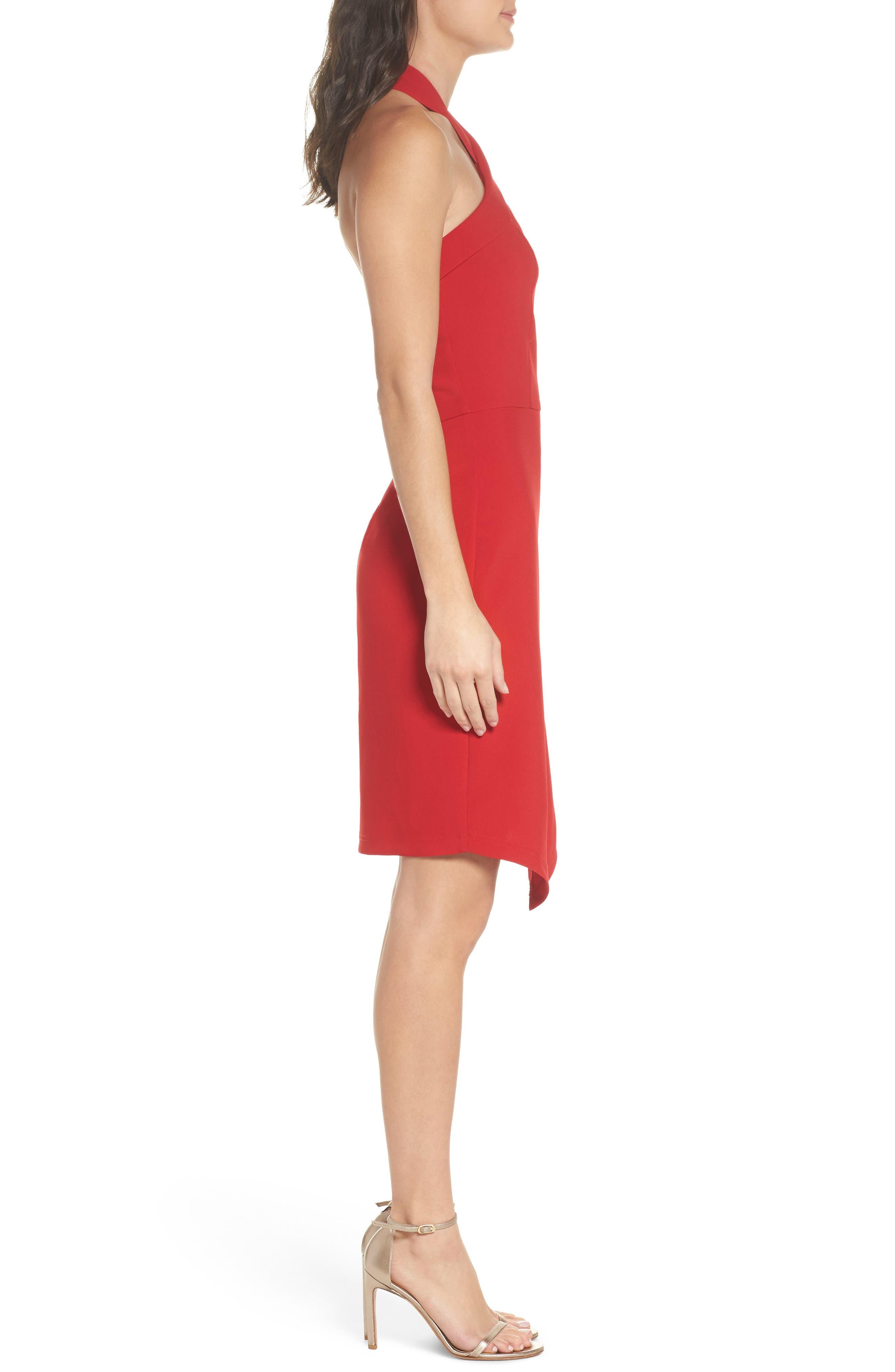 Halter Asymmetrical Sheath Dress,                             Alternate thumbnail 3, color,                             600