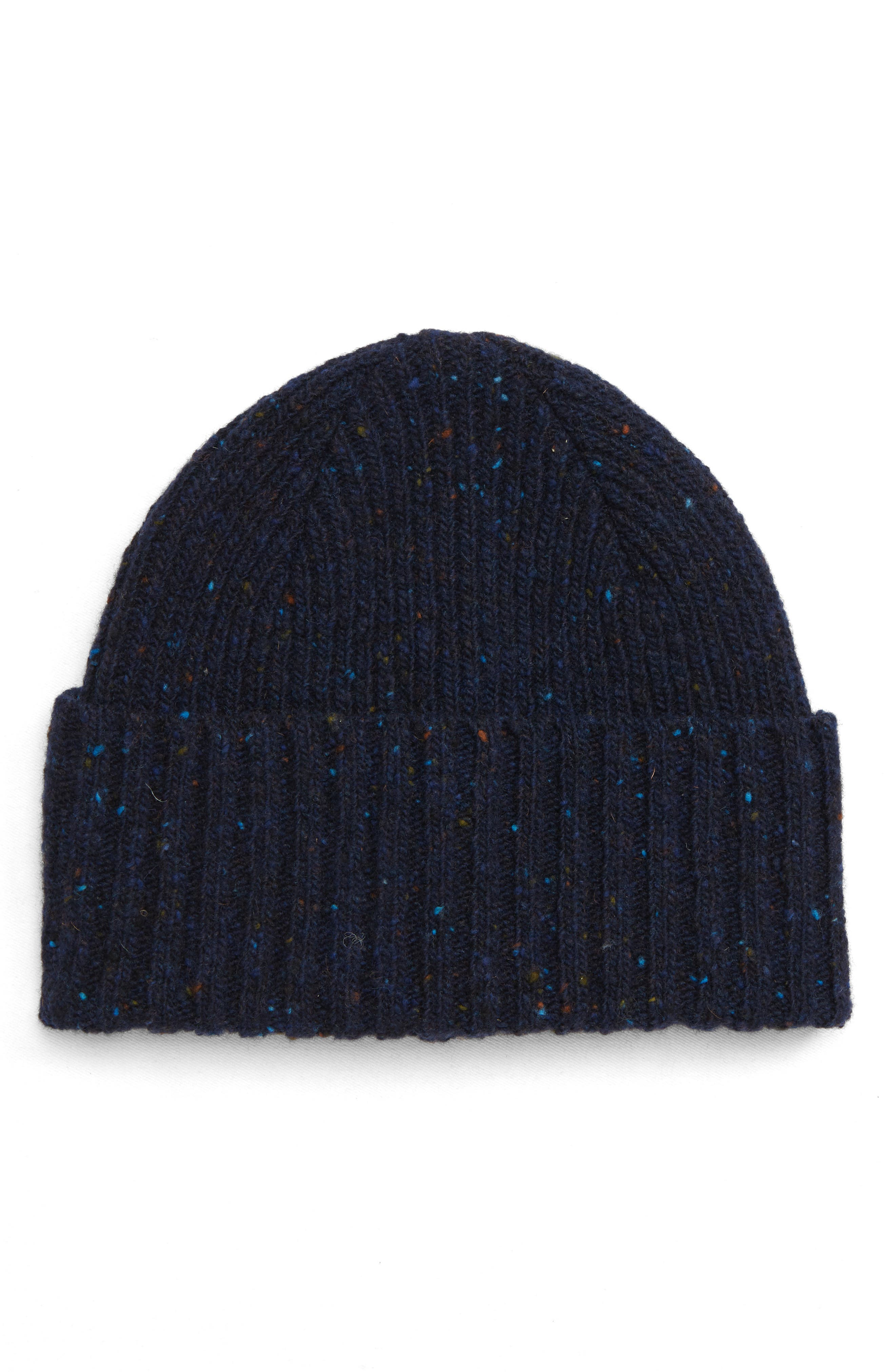 DRAKE'S Drakes Donegal Wool Beanie - Blue in Navy