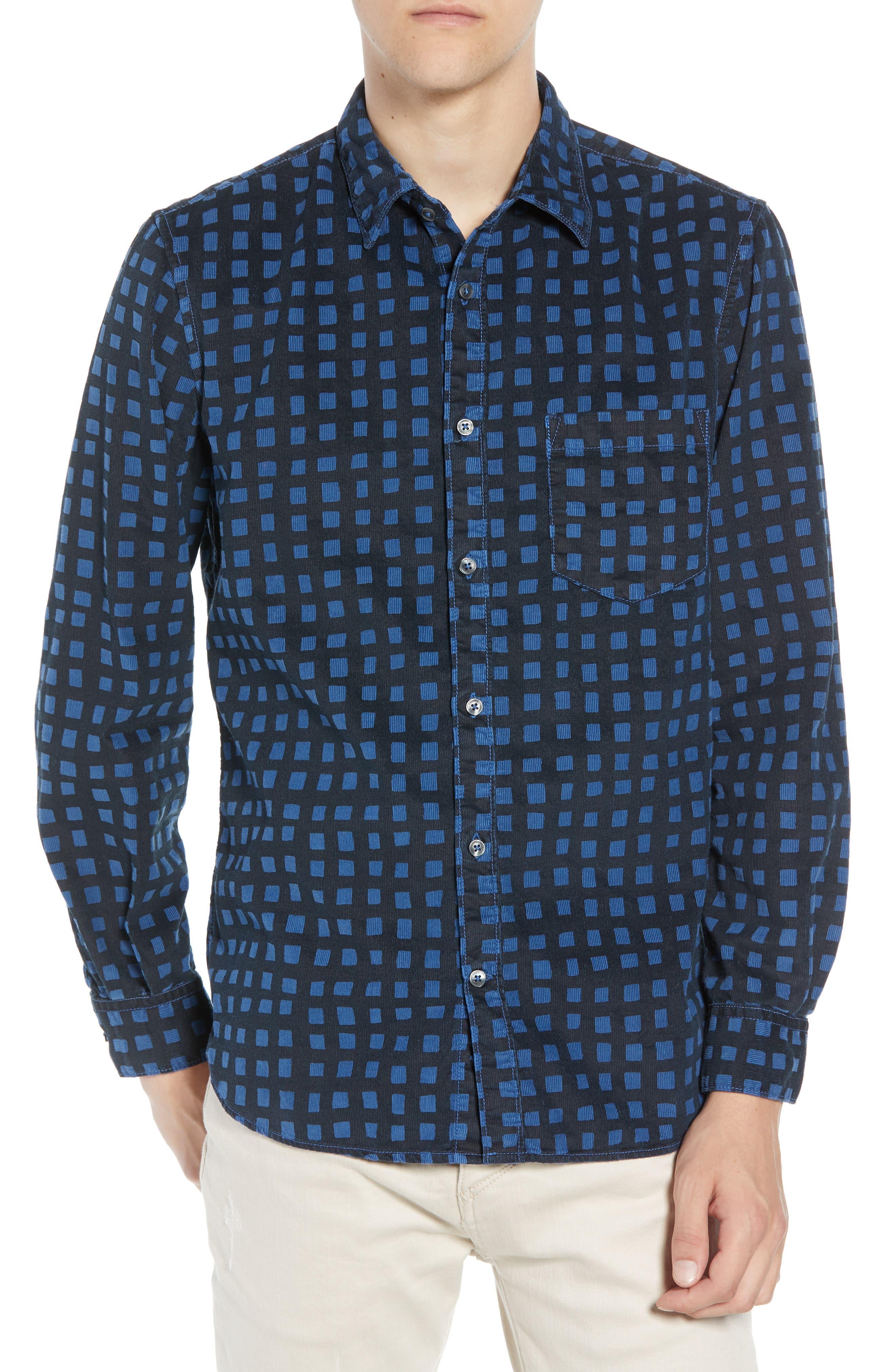 Gridlock Regular Fit Corduroy Shirt,                             Main thumbnail 1, color,                             FATHOM BLUE