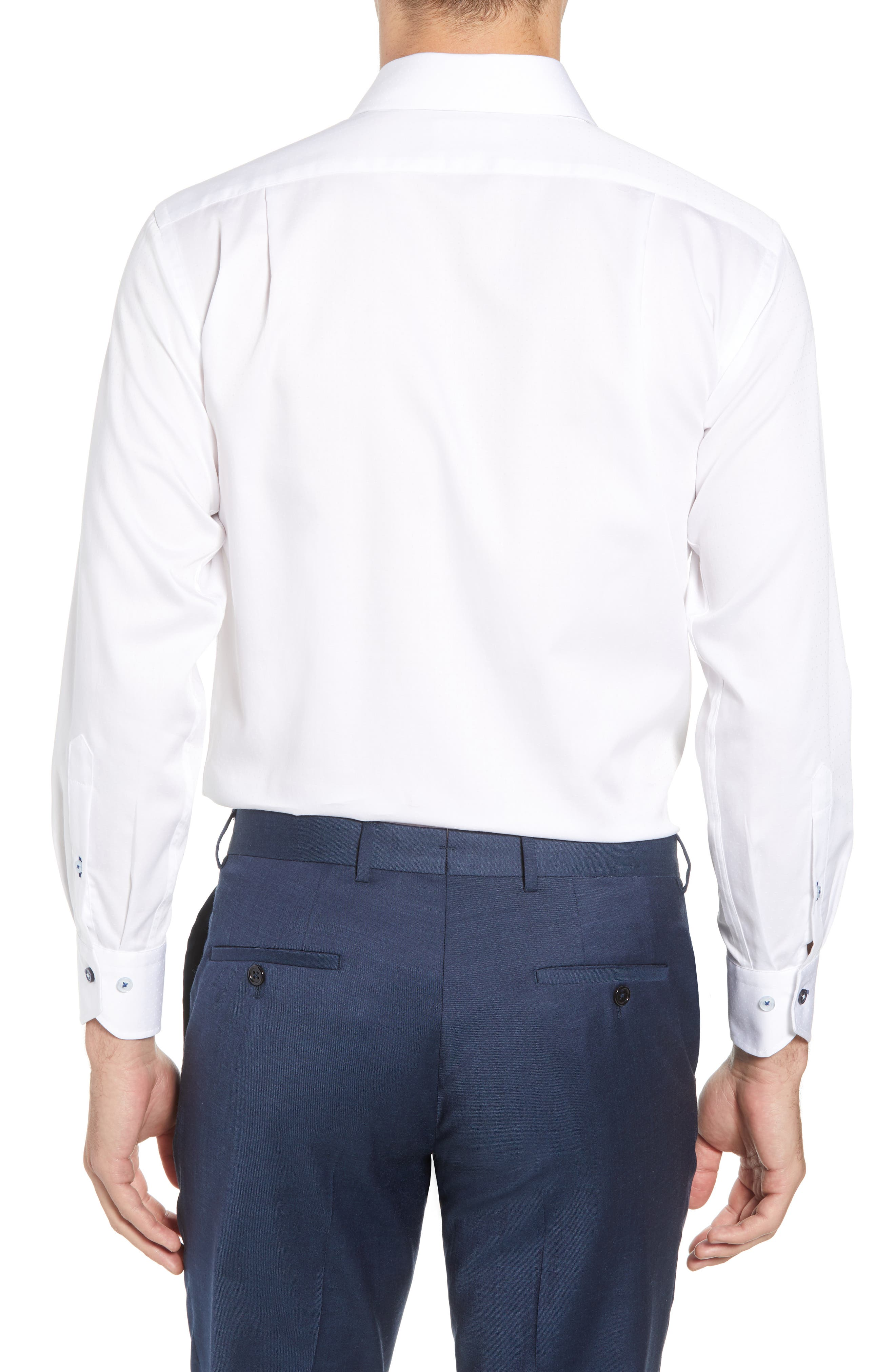 Trim Fit Dot Dress Shirt,                             Alternate thumbnail 3, color,                             WHITE