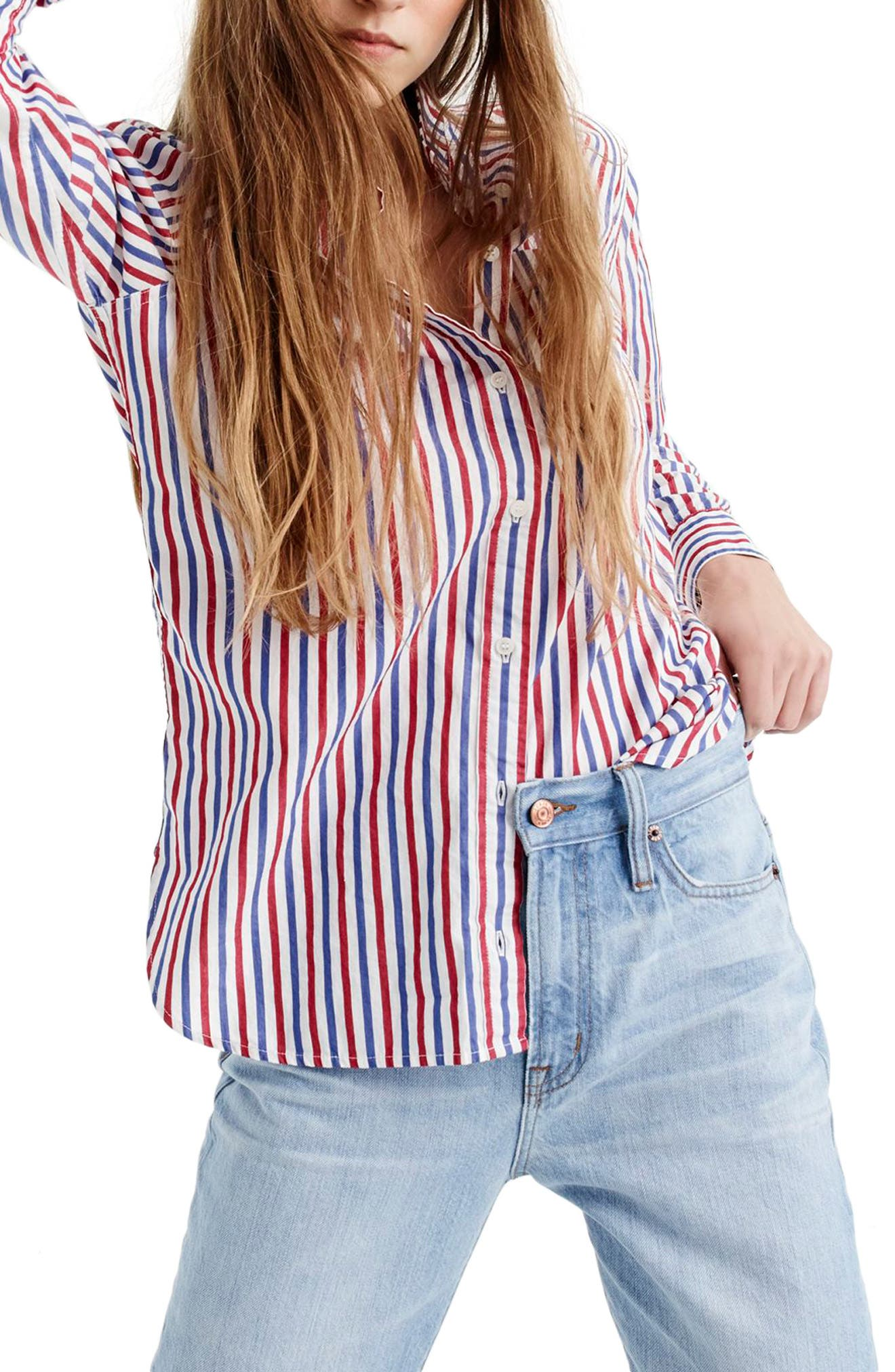 J. Crew Stripe Boyfriend Shirt,                         Main,                         color, 600