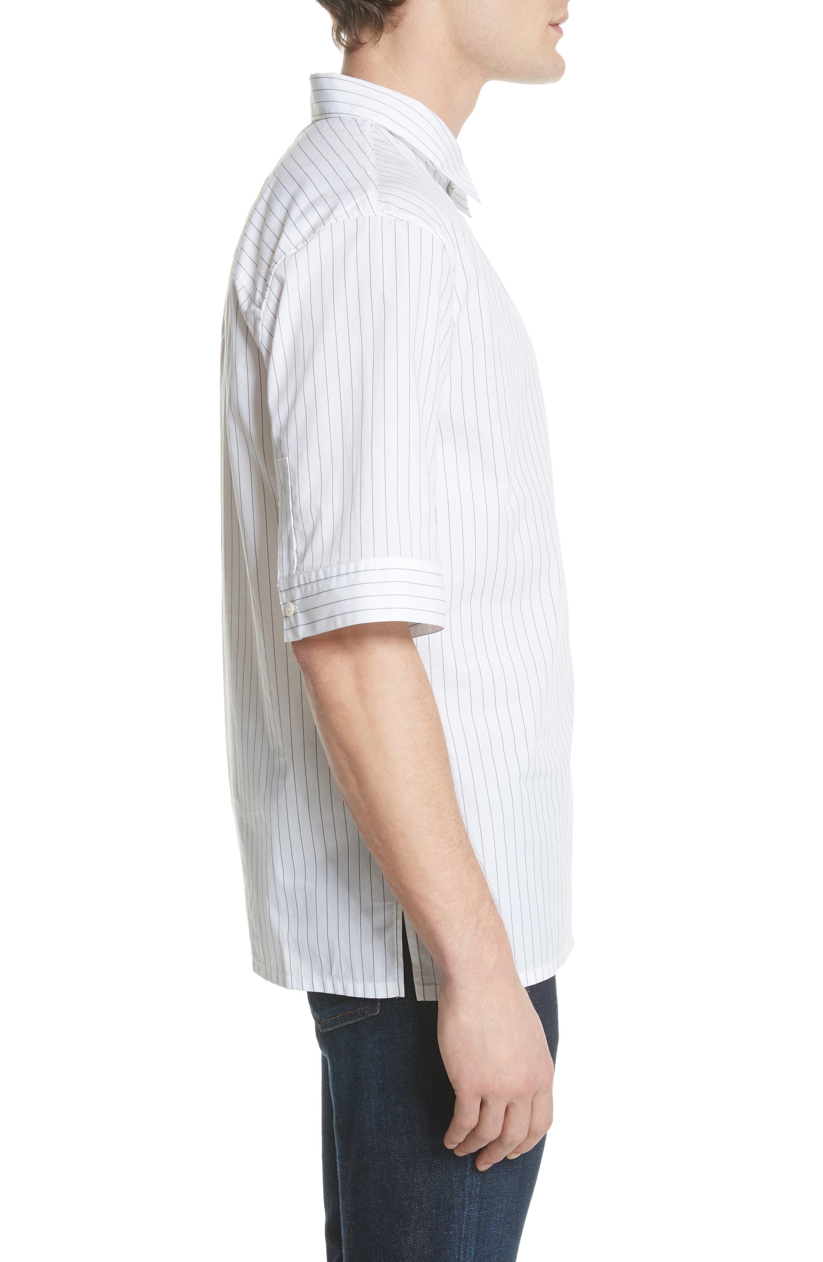 Elongated Placket Stripe Woven Shirt,                             Alternate thumbnail 3, color,