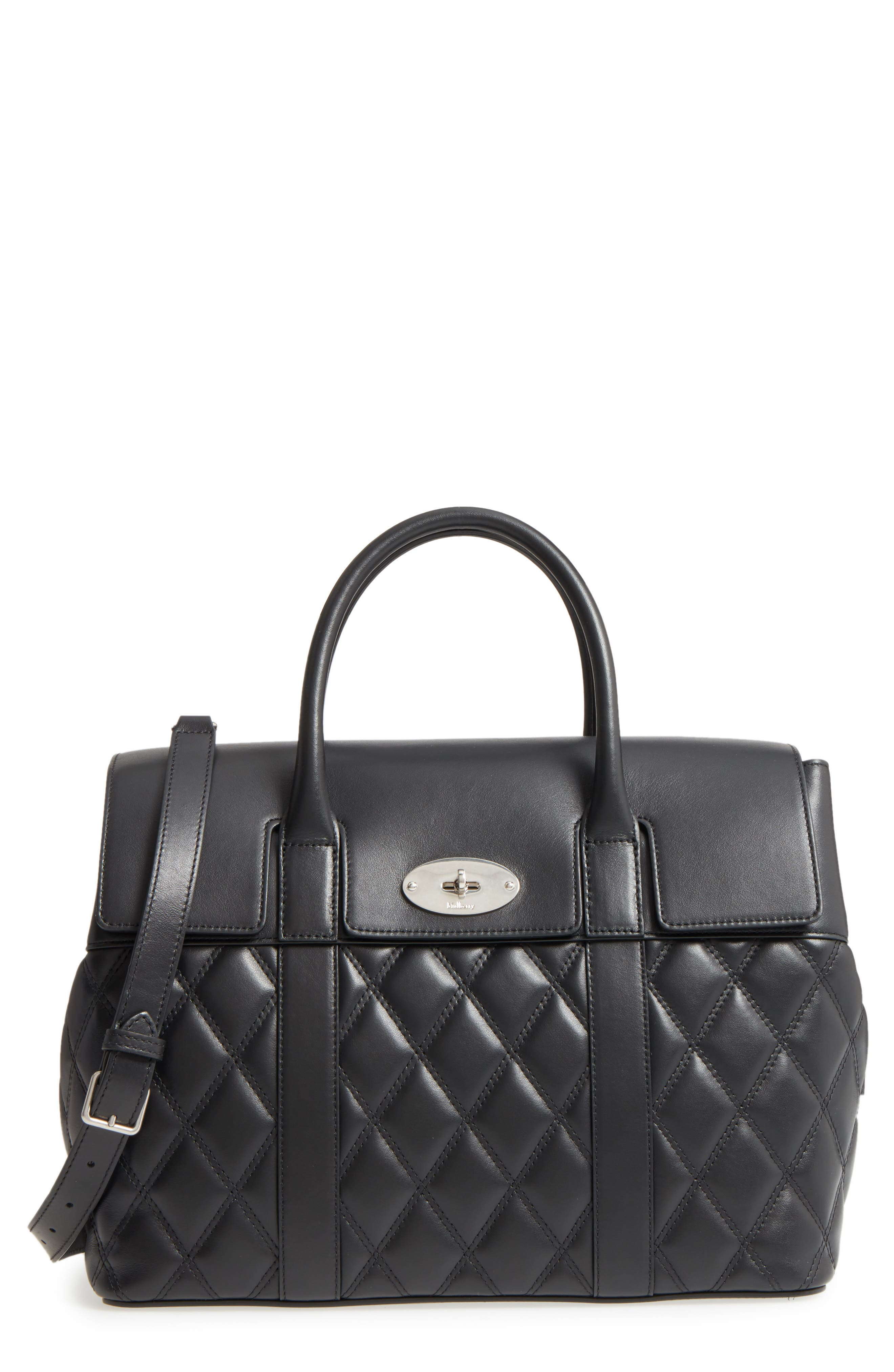 Bayswater Quilted Calfskin Leather Satchel,                             Main thumbnail 1, color,                             010