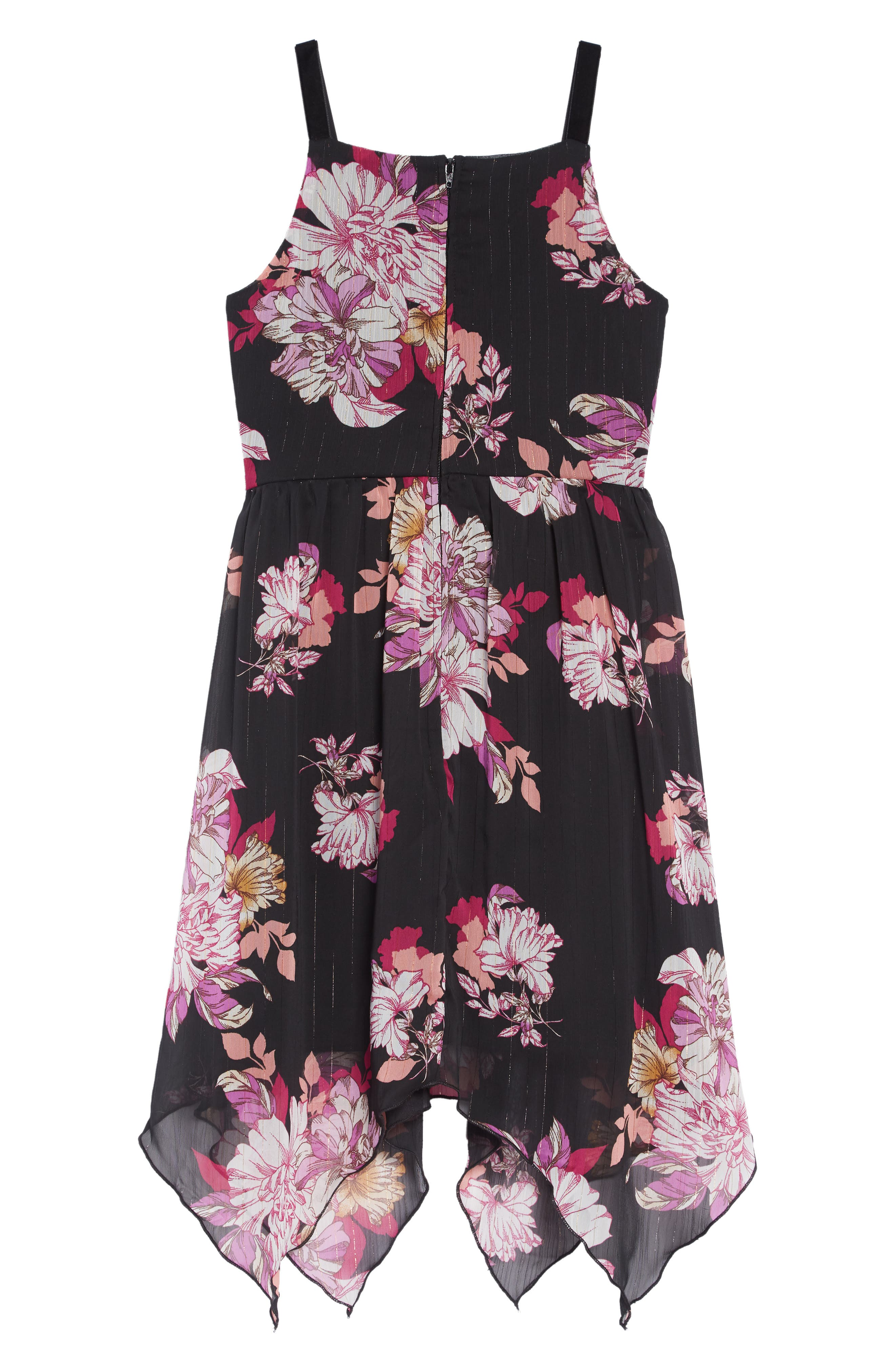 Floral Print Handkerchief Hem Dress,                             Alternate thumbnail 2, color,                             BLACK