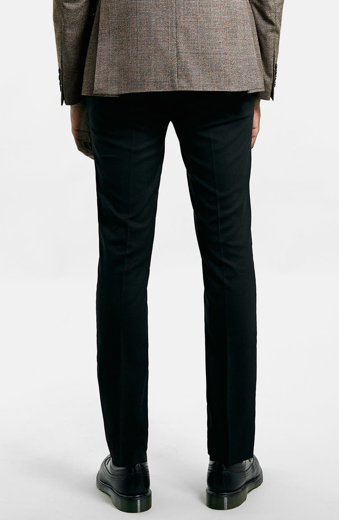 Ultra Skinny Black Suit Trousers,                             Alternate thumbnail 4, color,                             001