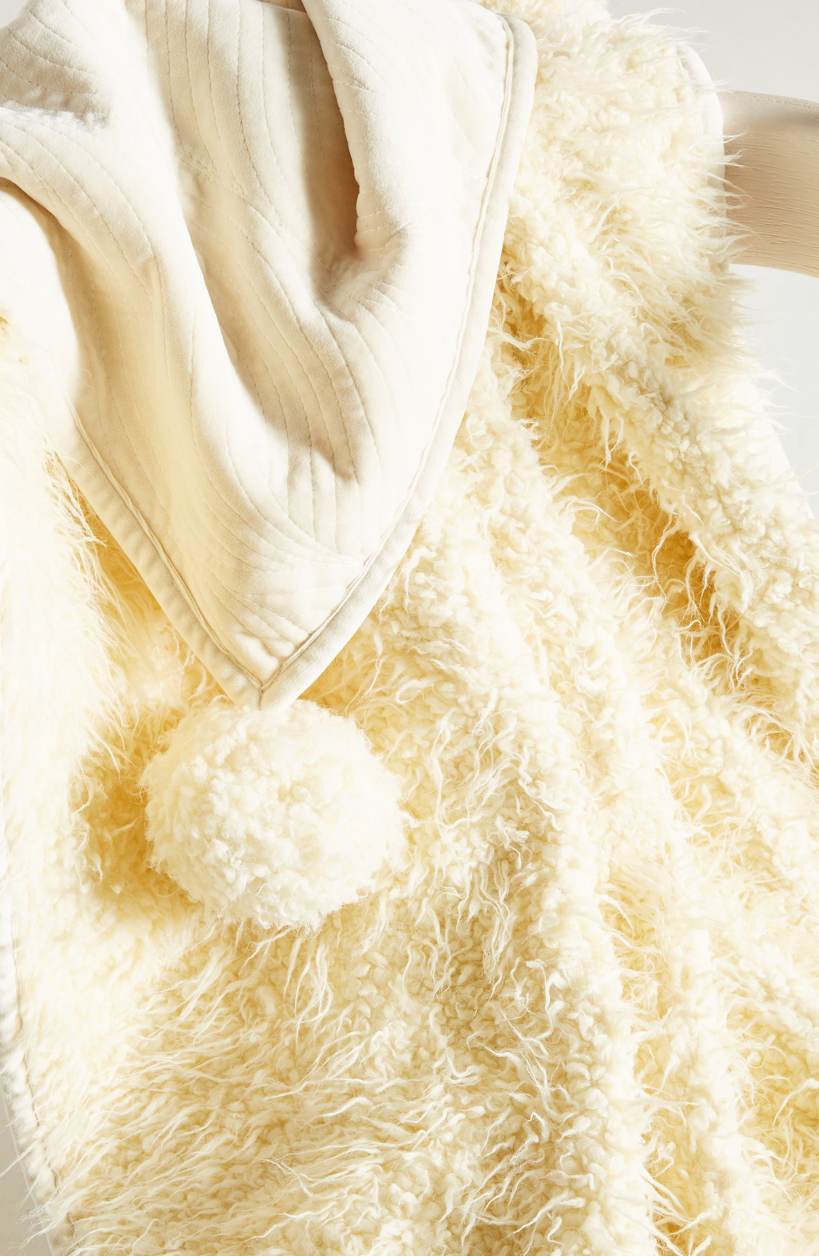 Bailey Faux Fur Throw Blanket,                             Alternate thumbnail 2, color,                             IVORY