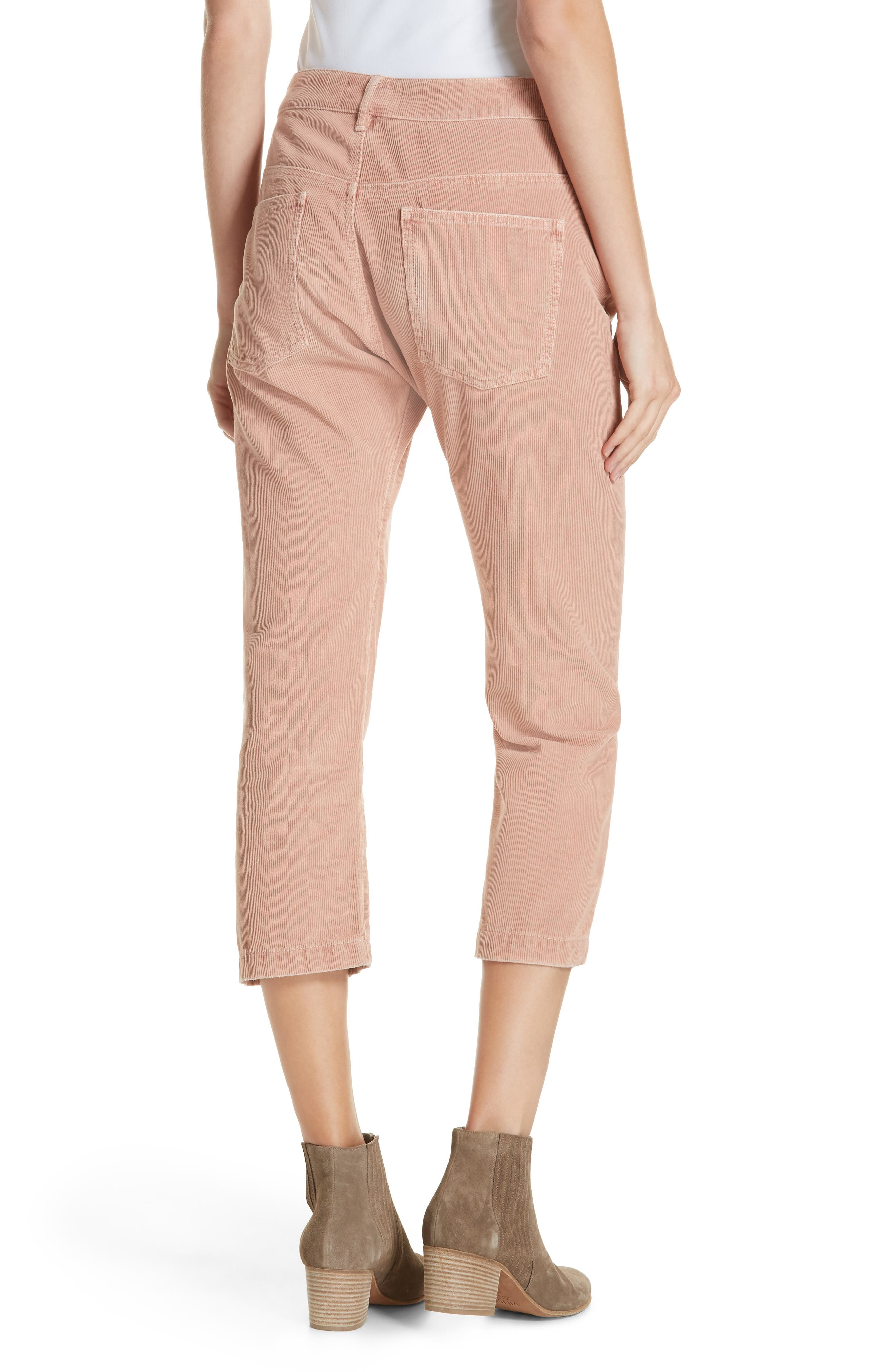 The Rambler Corduroy Crop Straight Leg Pants,                             Alternate thumbnail 2, color,                             CLOUD PINK