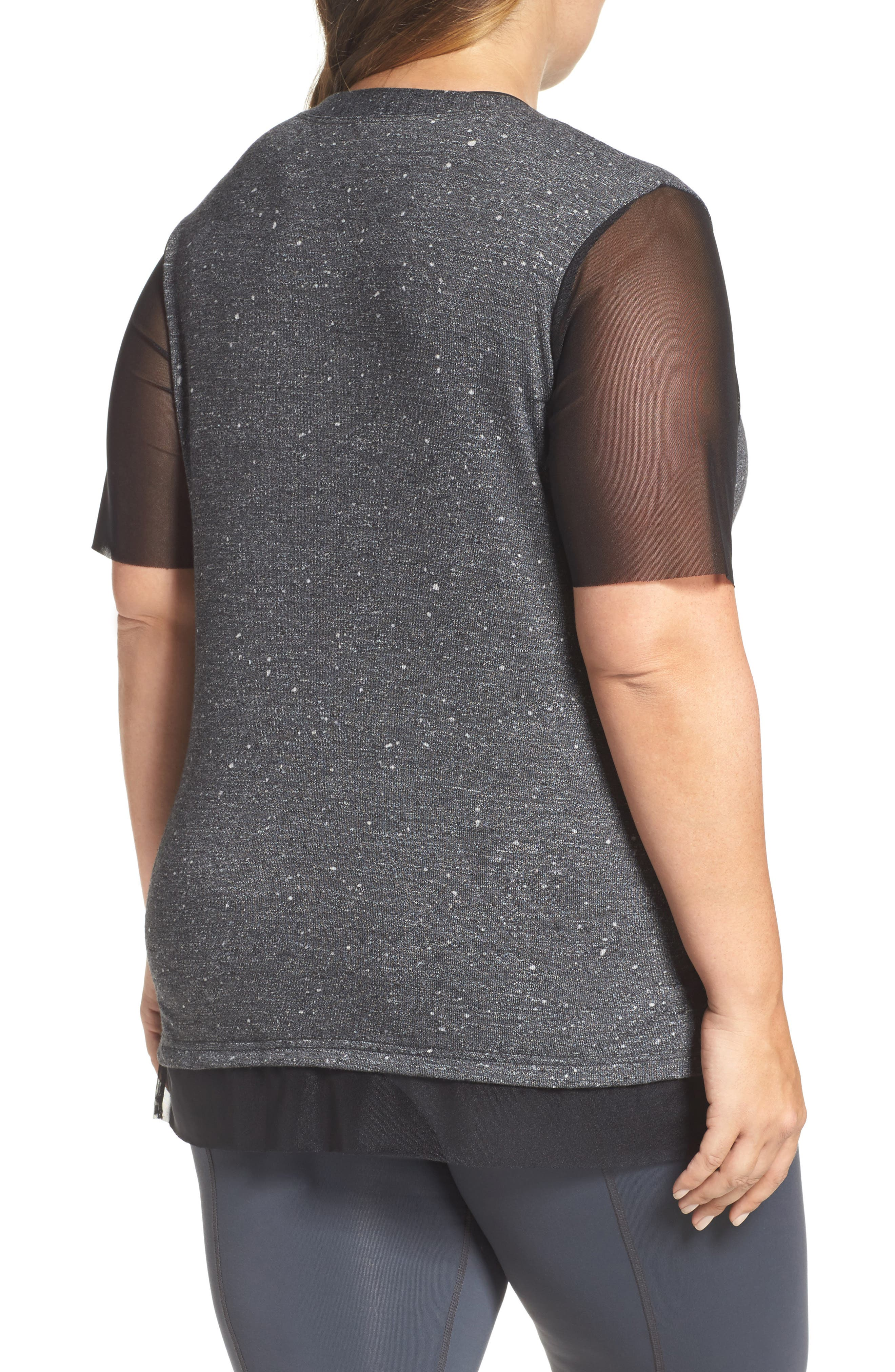 Lola Mesh Sleeve Tee,                             Alternate thumbnail 2, color,                             CHARCOAL