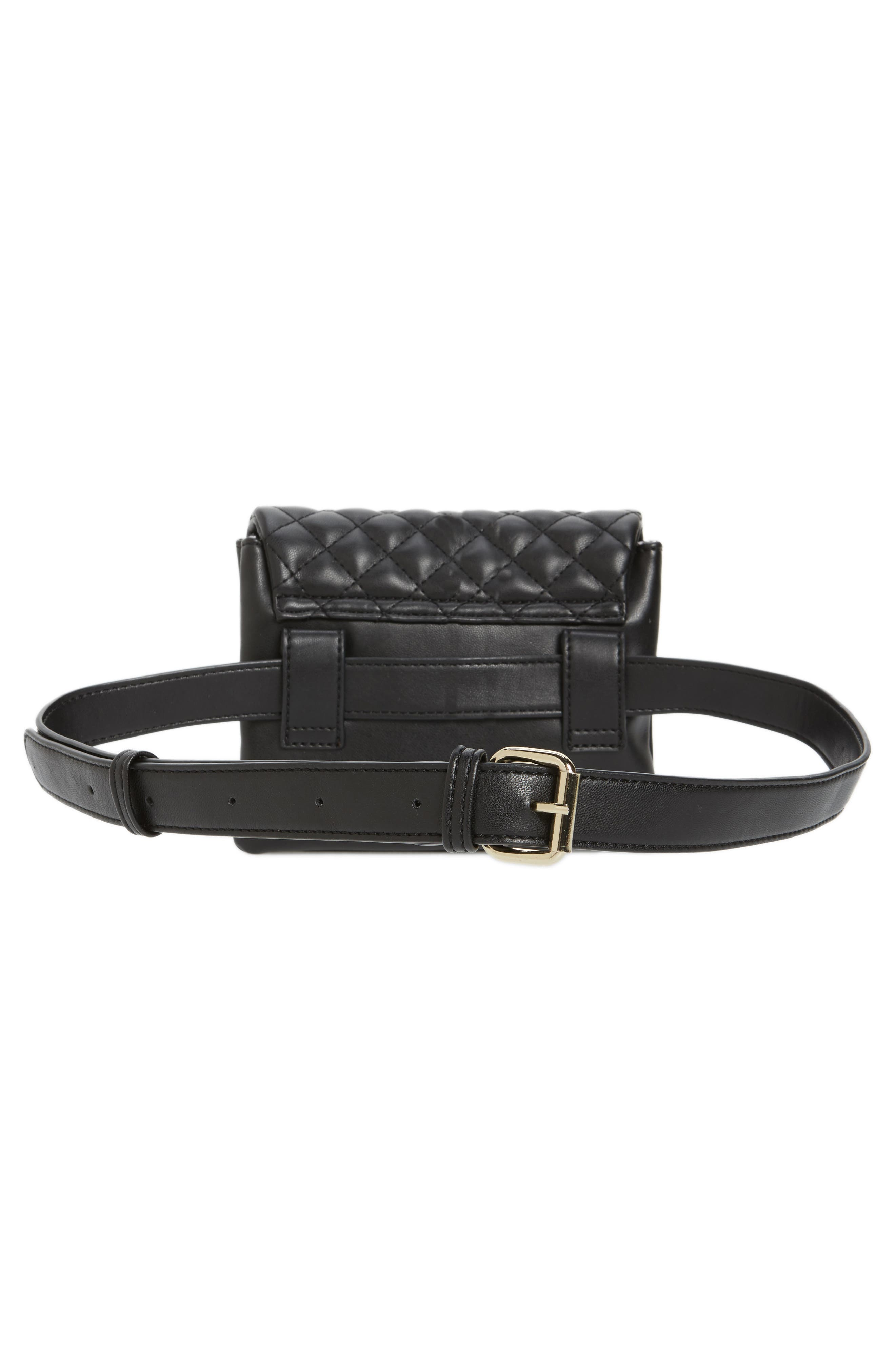 Quilted Vegan Leather Convertible Belt Bag,                             Alternate thumbnail 5, color,                             001