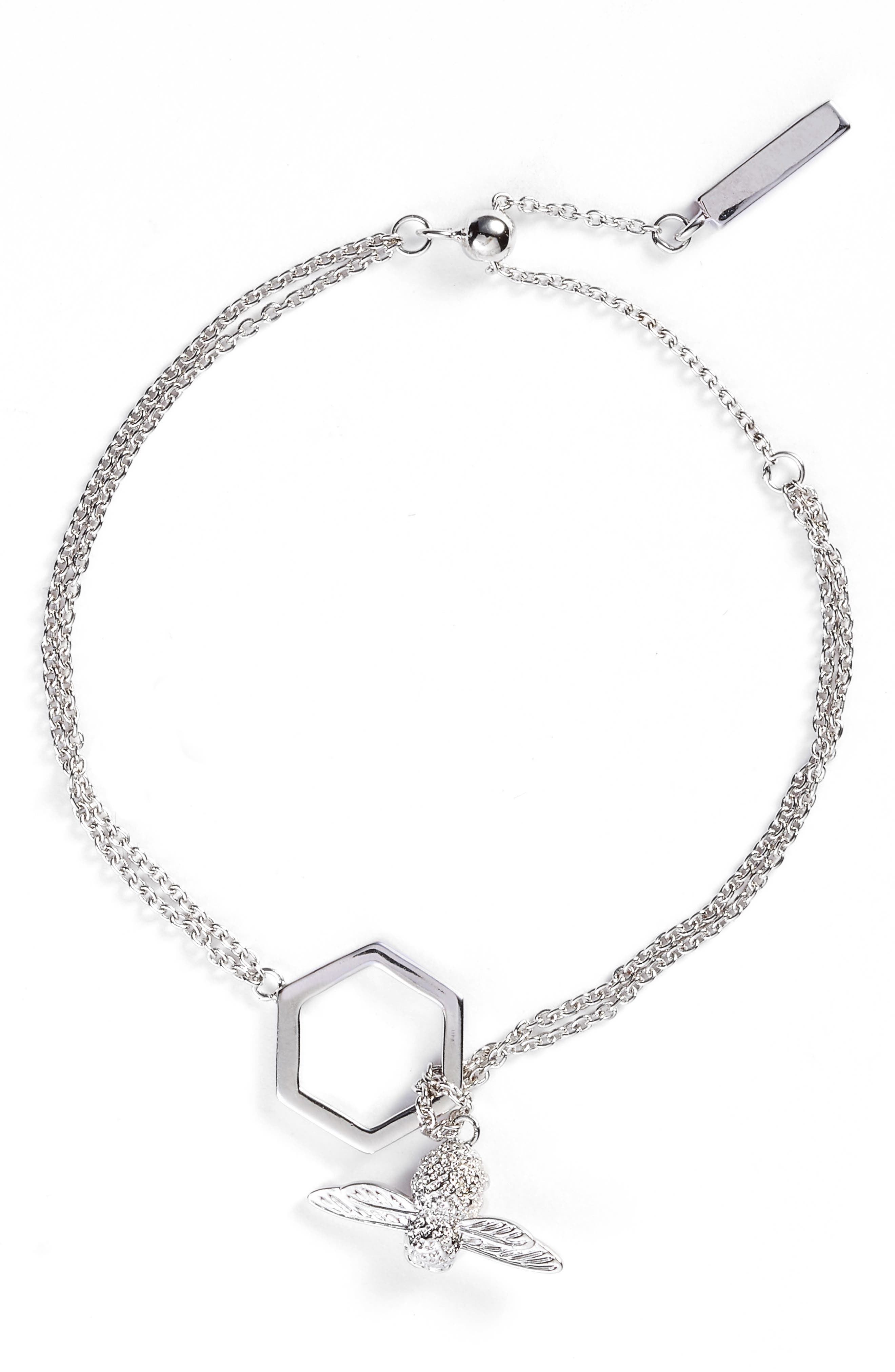 Honeycomb Bee Chain Bracelet,                         Main,                         color, SILVER