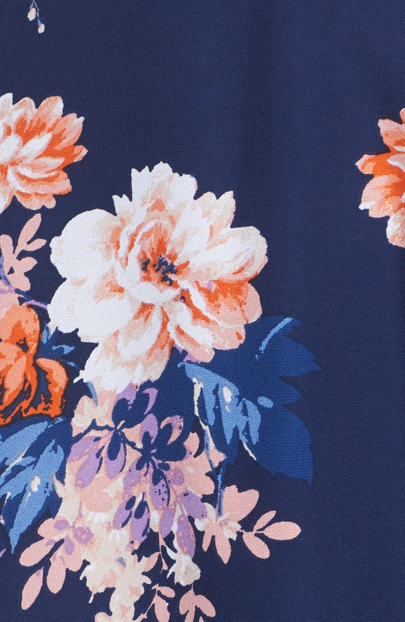 Chasing Butterflies Cold Shoulder Fit & Flare Dress,                             Alternate thumbnail 5, color,                             400