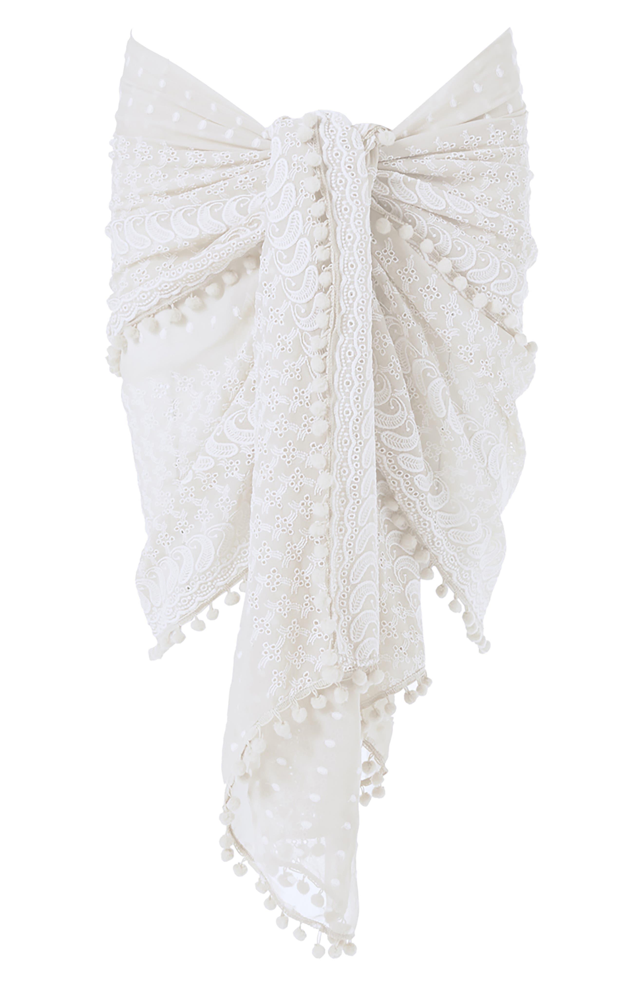 MELISSA ODABASH,                             Embroidered Pareo,                             Alternate thumbnail 2, color,                             WHITE