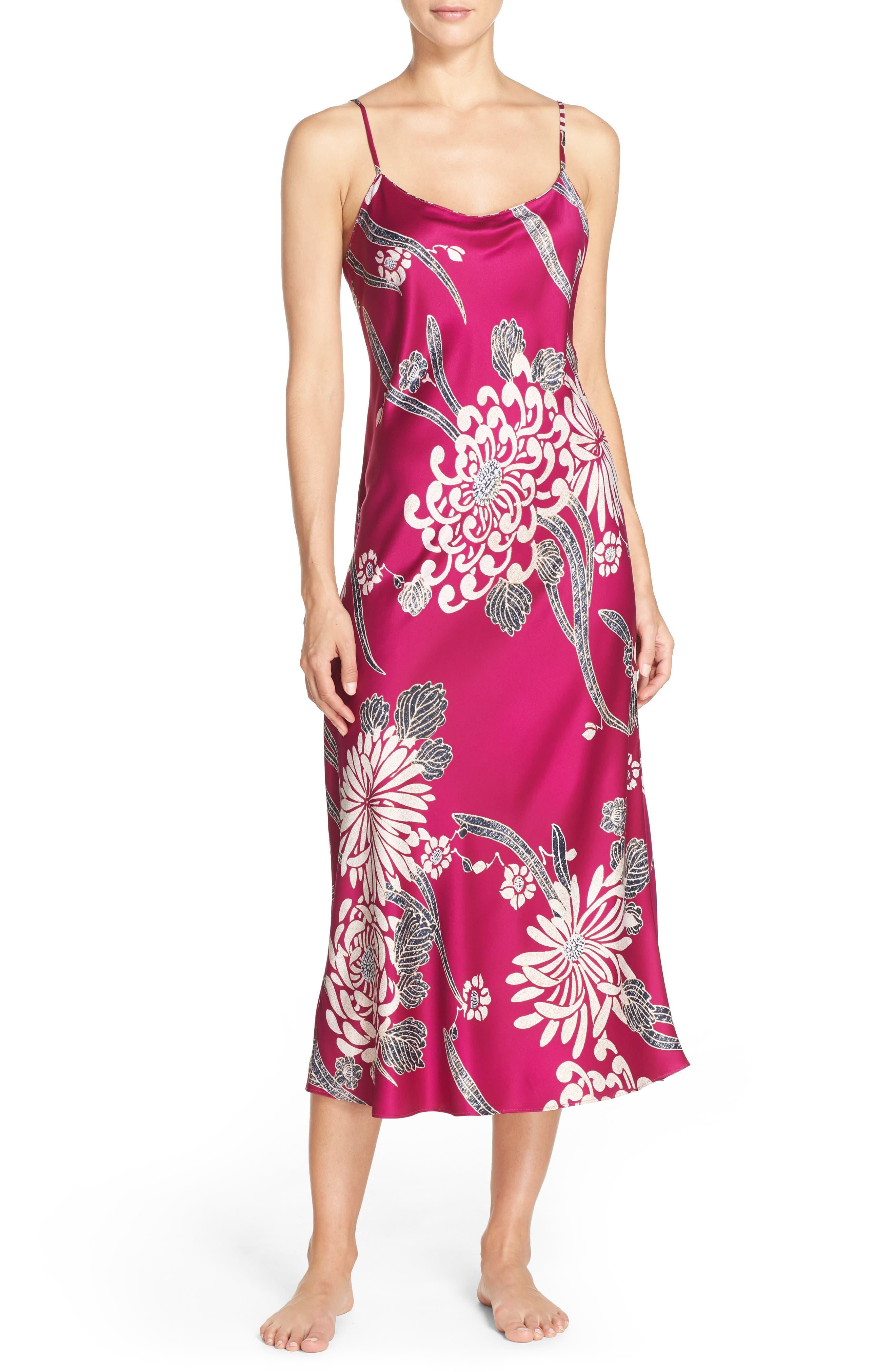 Aizome Satin Nightgown,                         Main,                         color,
