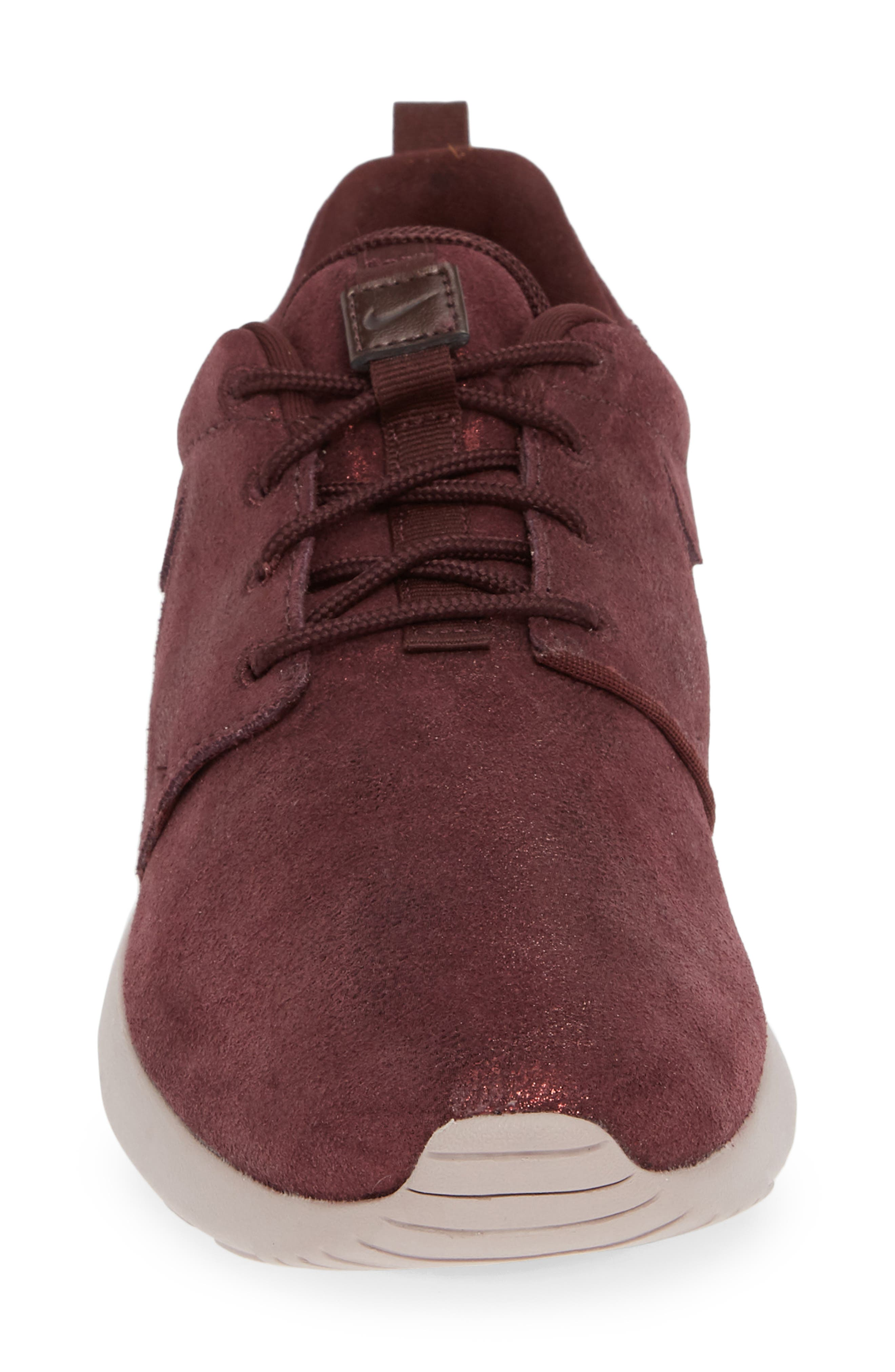 'Roshe Run' Print Sneaker,                             Alternate thumbnail 4, color,                             METALLIC MAHOGANY/ MAHOGANY