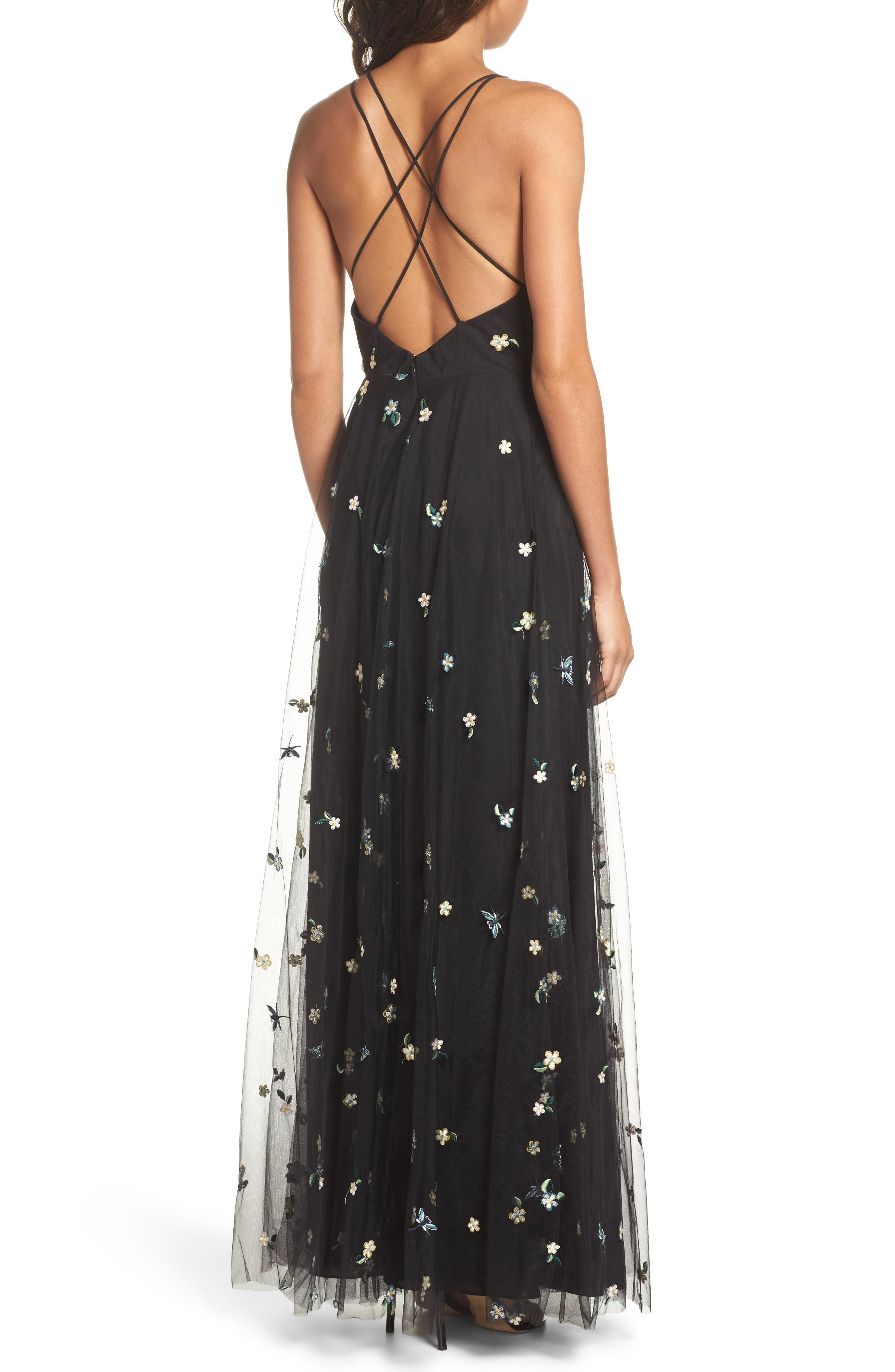 Chelsea Covent Garden Embroidered Gown,                             Alternate thumbnail 2, color,                             BLACK MULTI