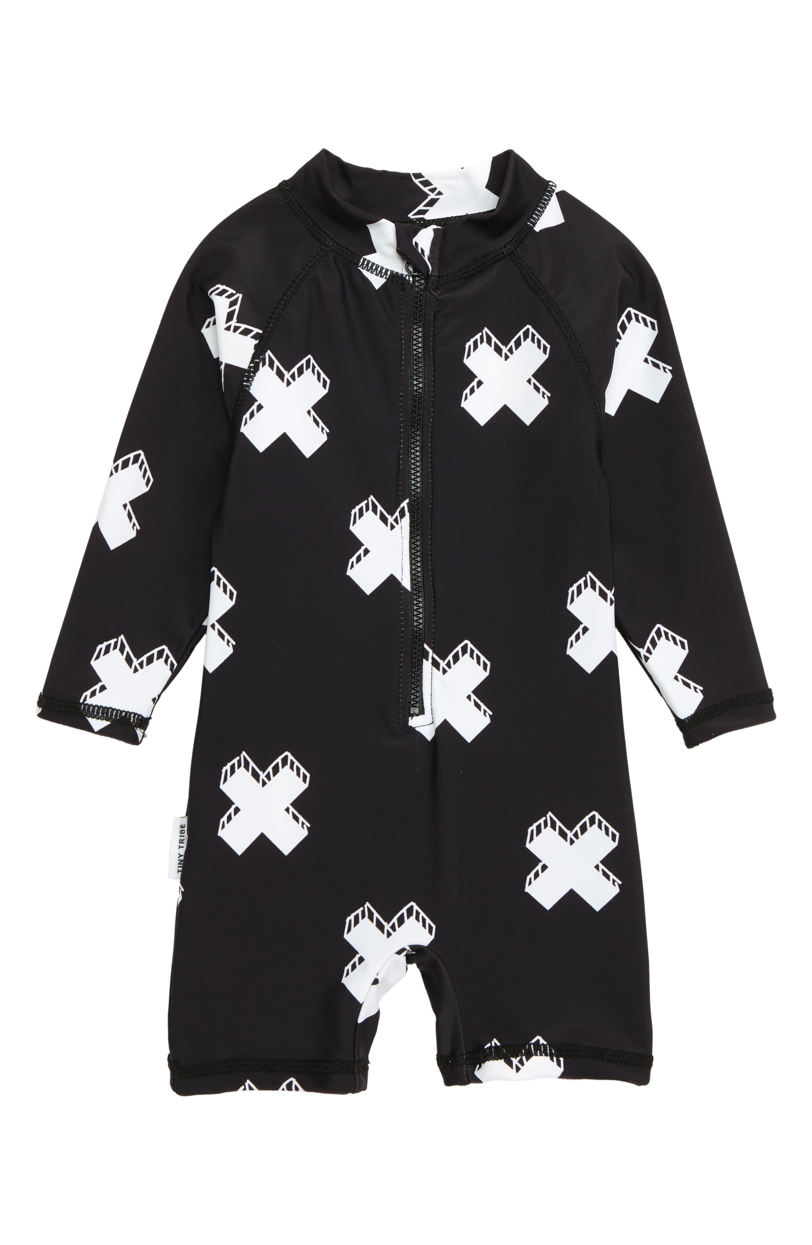 Cross One-Piece Rashguard Swimsuit,                             Main thumbnail 1, color,                             WHITE/ BLACK