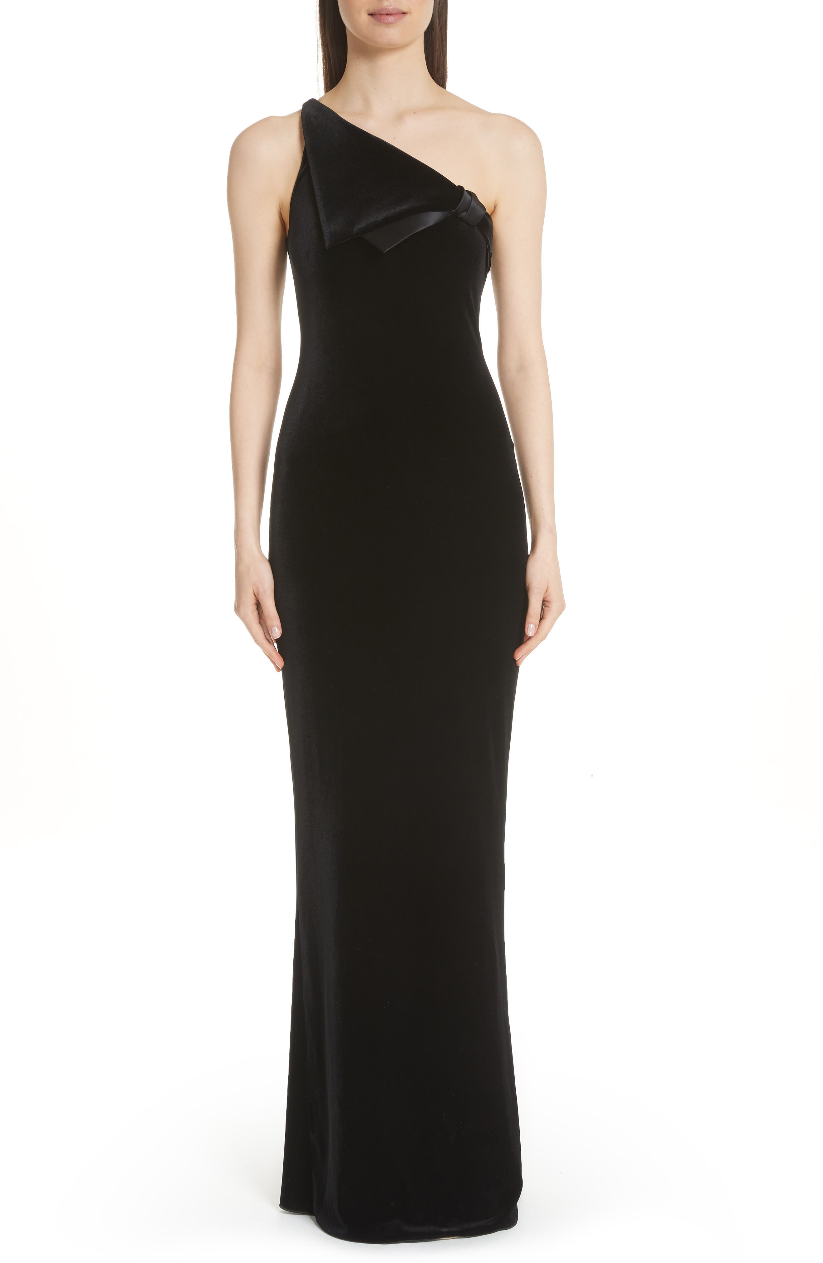 Emporio Armani One Shoulder Gown, US / 46 IT - Black