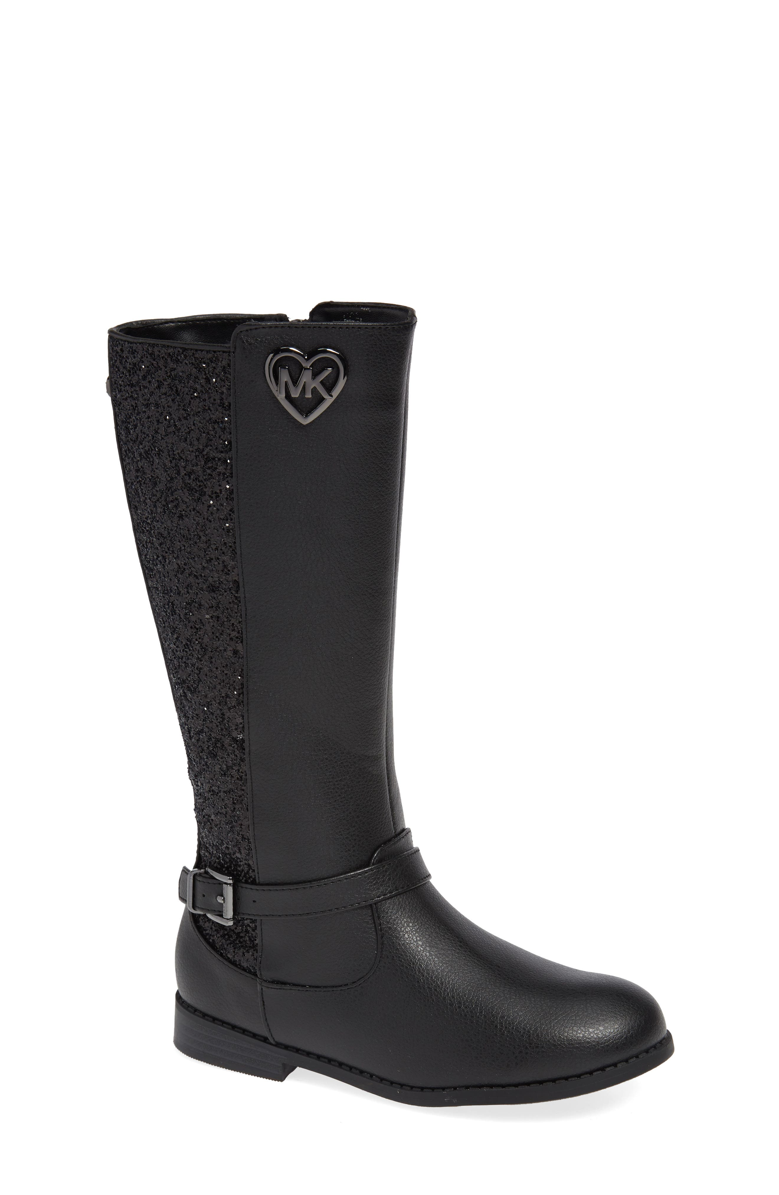 Emma Quinn Faux Leather Glitter Riding Boot,                         Main,                         color, BLACK
