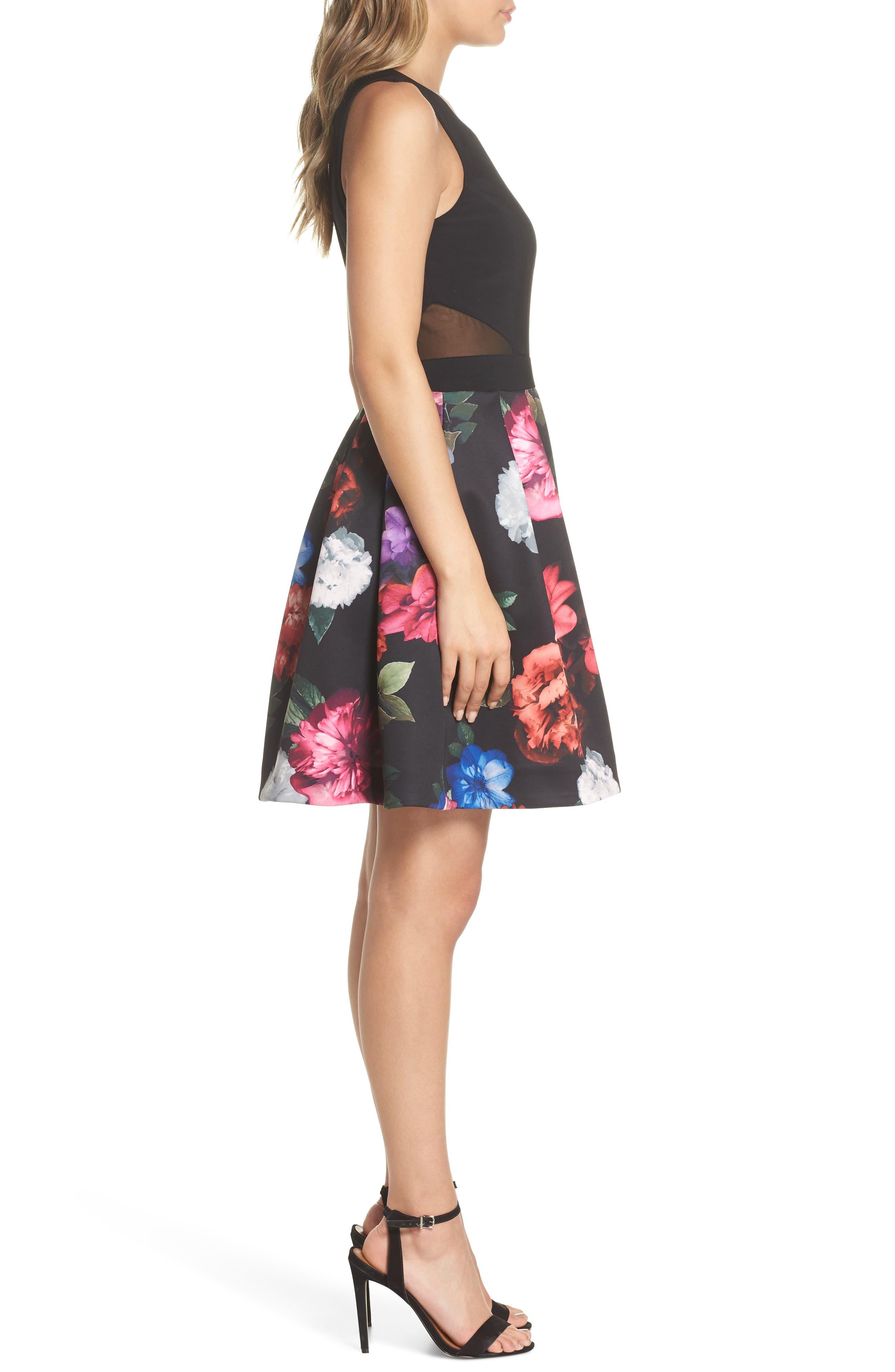 Floral Print Fit & Flare Dress,                             Alternate thumbnail 3, color,                             BLACK/ PURPLE