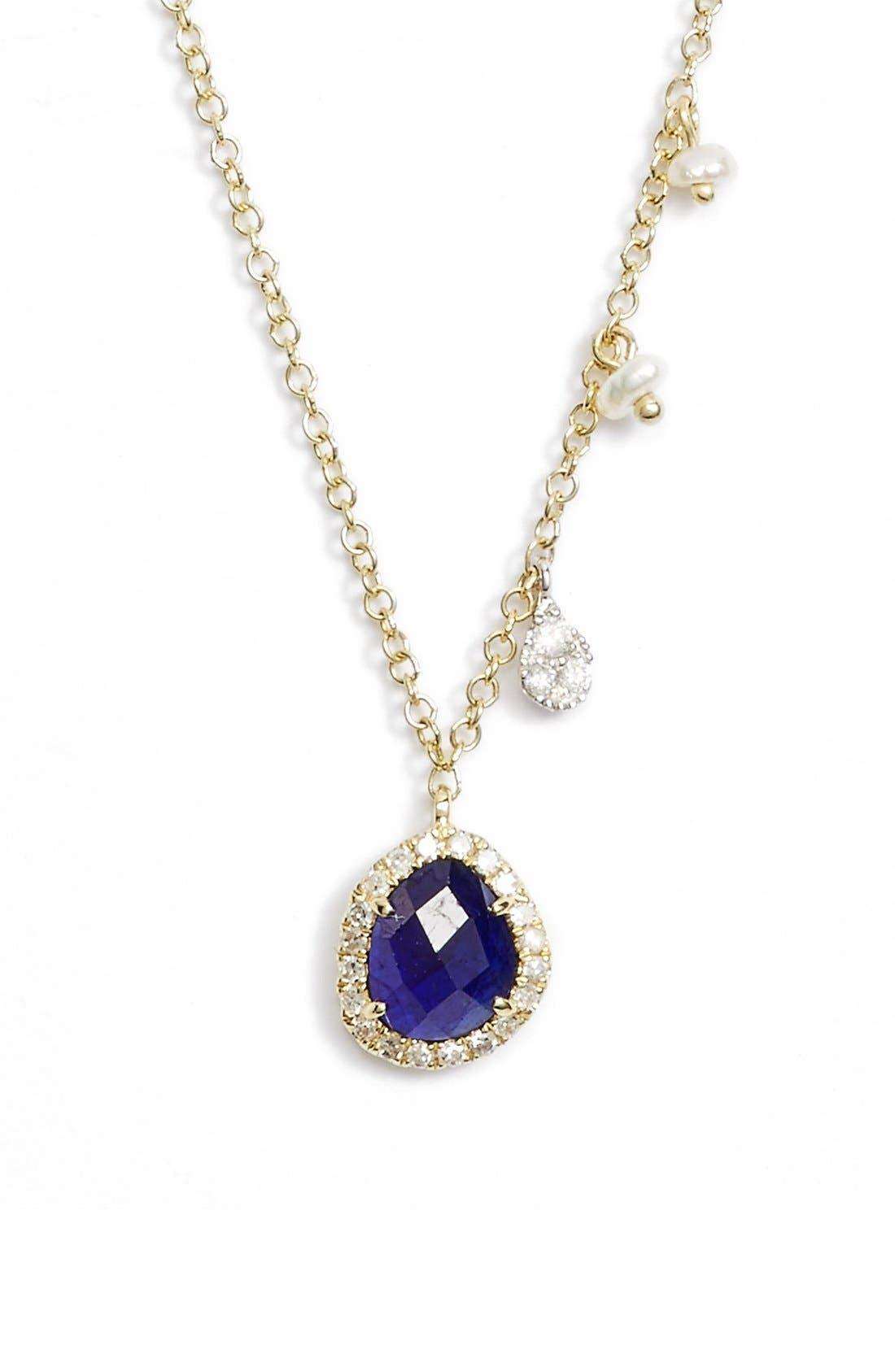 Mini Stone Diamond Pendant Necklace,                         Main,                         color, YELLOW GOLD/ BLUE SAPPHIRE