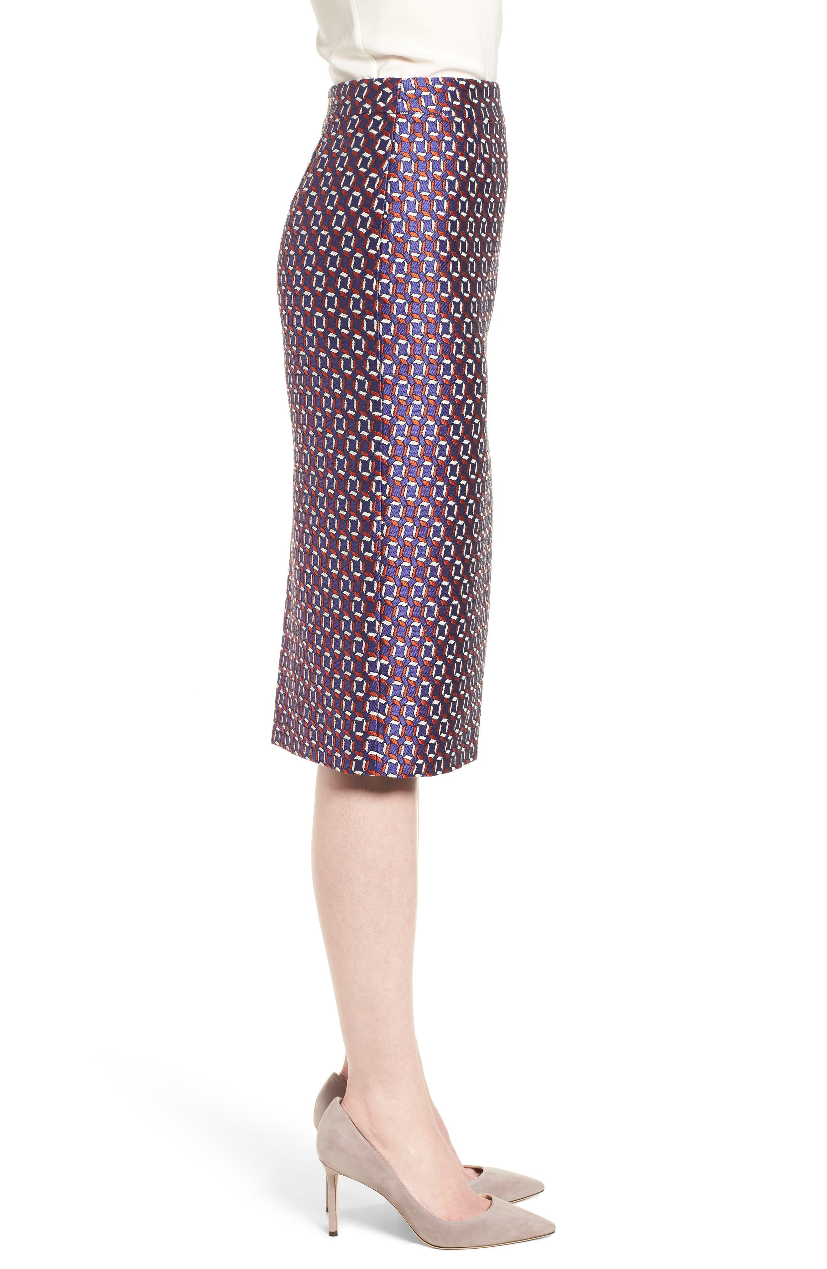 Varines Jacquard Pencil Skirt,                             Alternate thumbnail 3, color,                             575