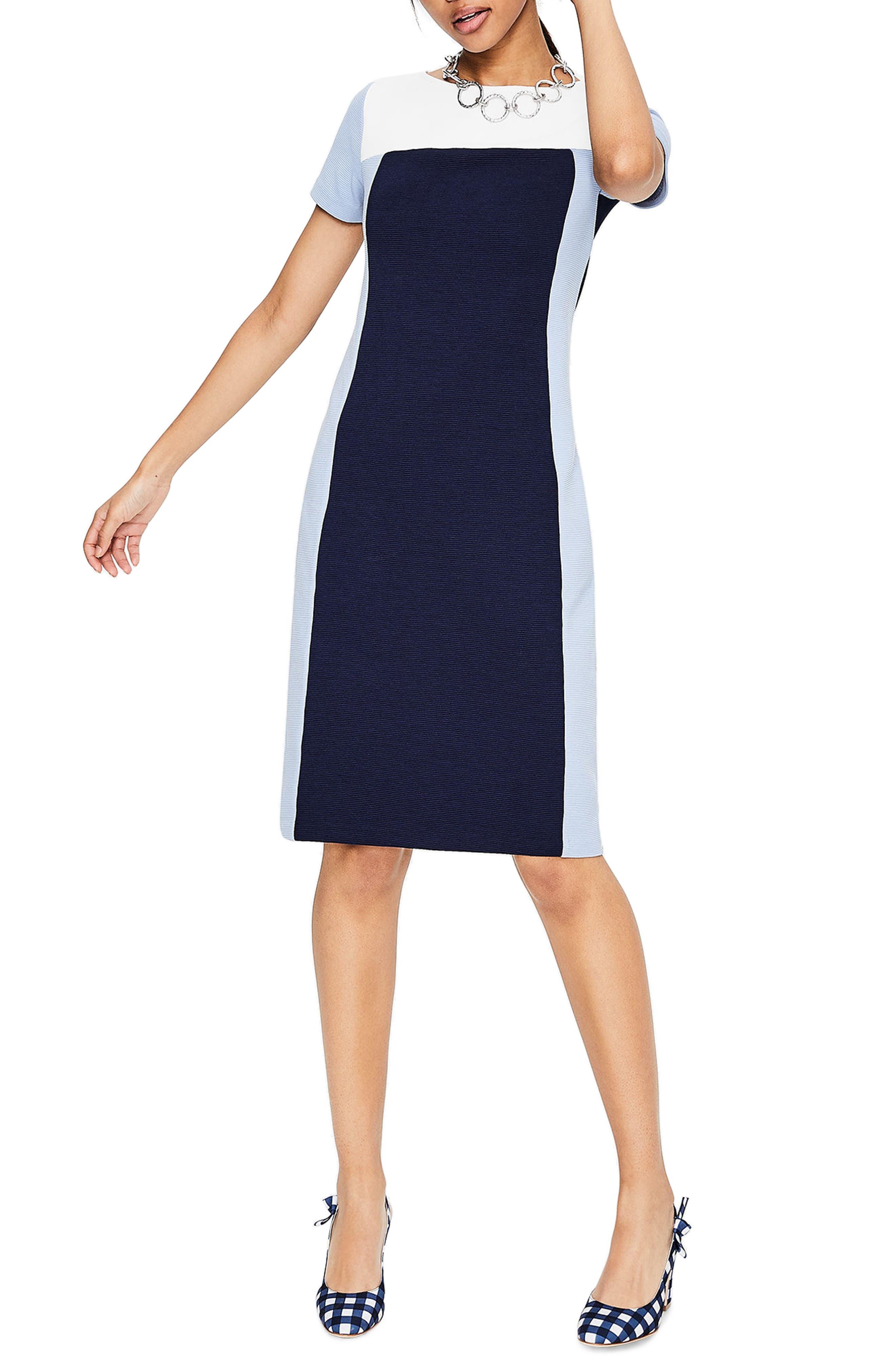 Modern Colorblock Ponte Dress,                             Main thumbnail 1, color,                             414