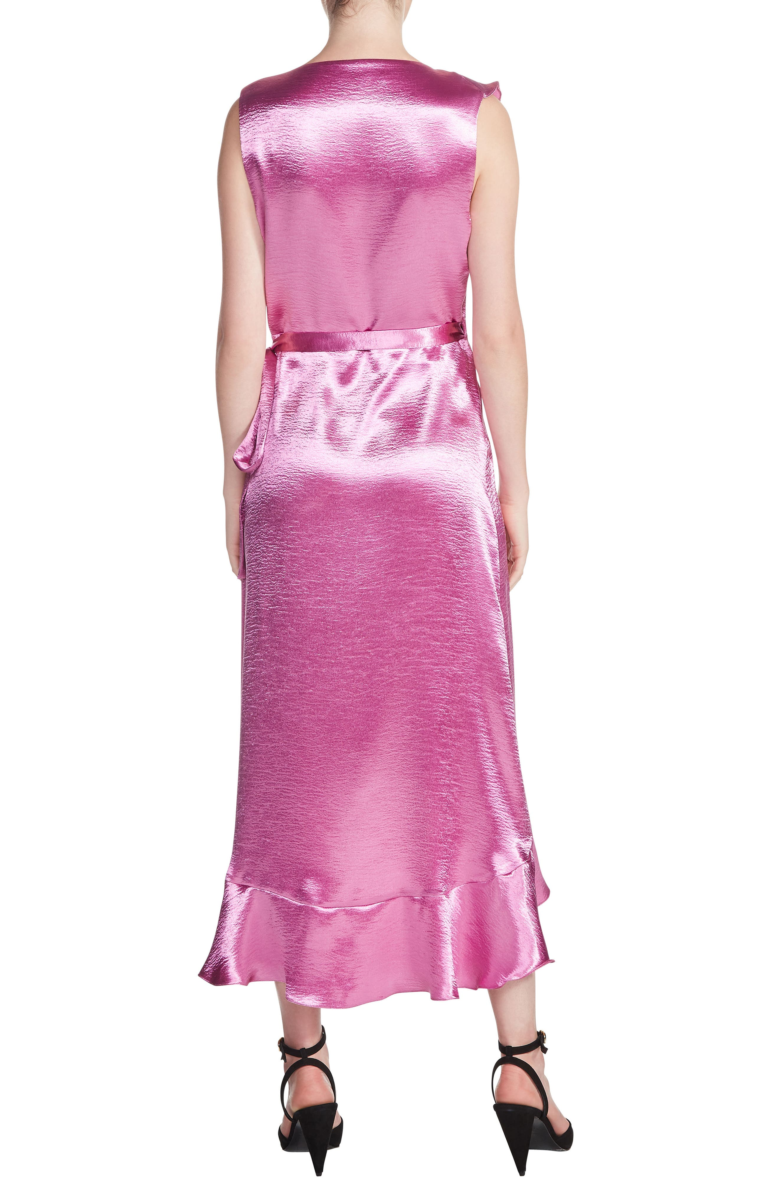 Ripple Ruffle Detail Satin Wrap Dress,                             Alternate thumbnail 2, color,                             650
