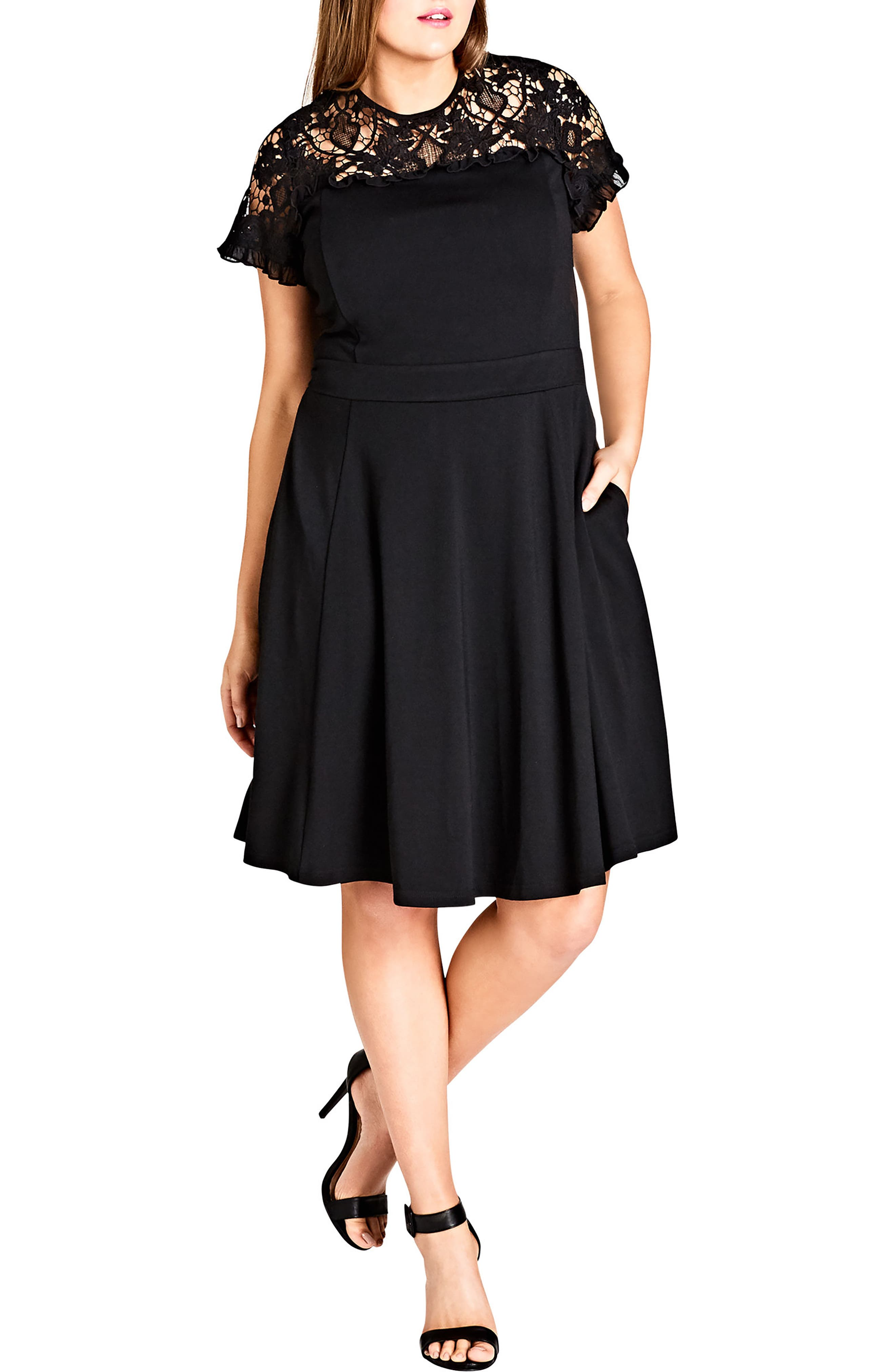 Plus Size City Chic Dark Mistress Lace Yoke A-Line Dress, Black