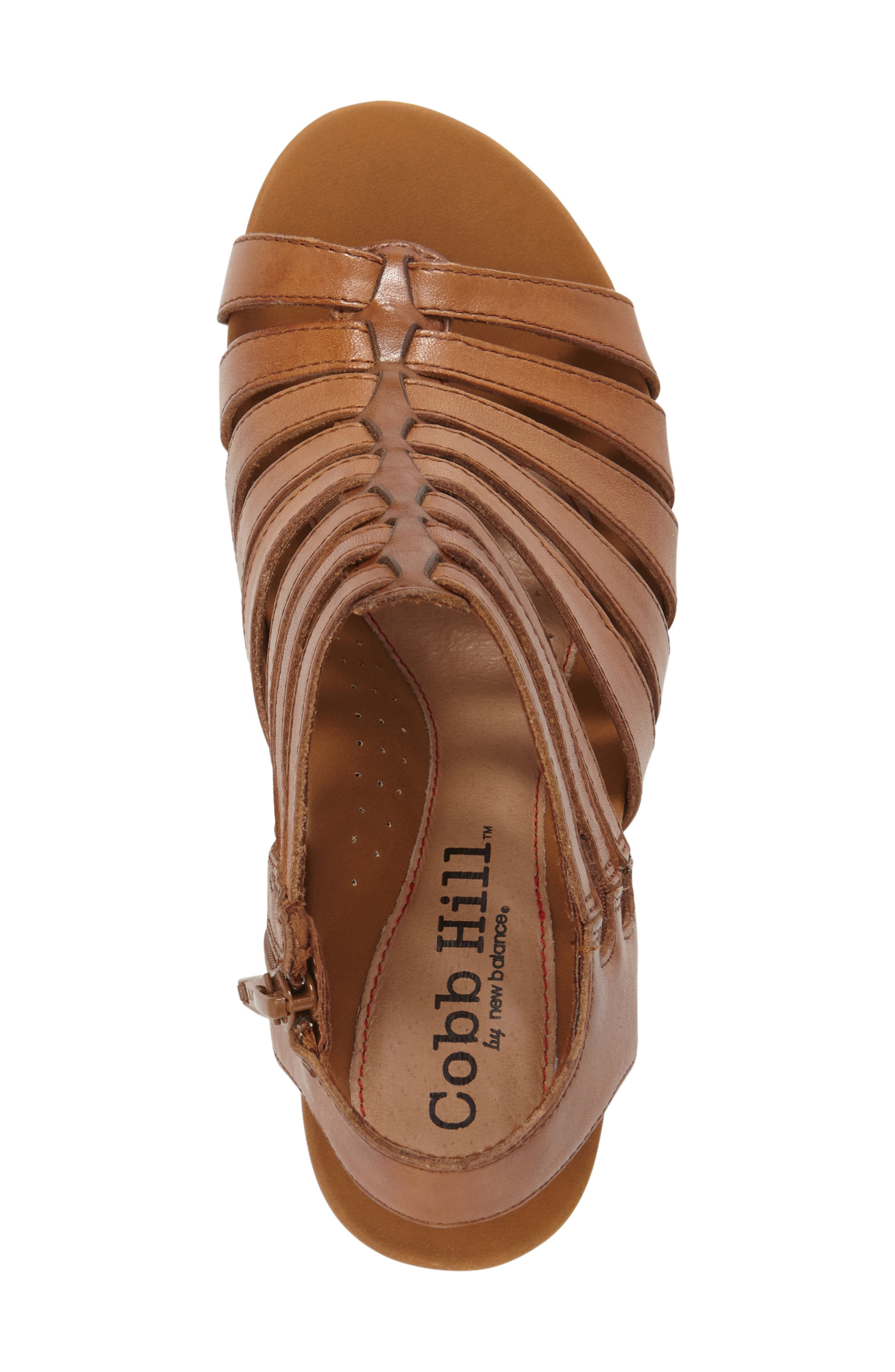 'Taylor' Caged Sandal,                             Alternate thumbnail 5, color,                             TAN LEATHER