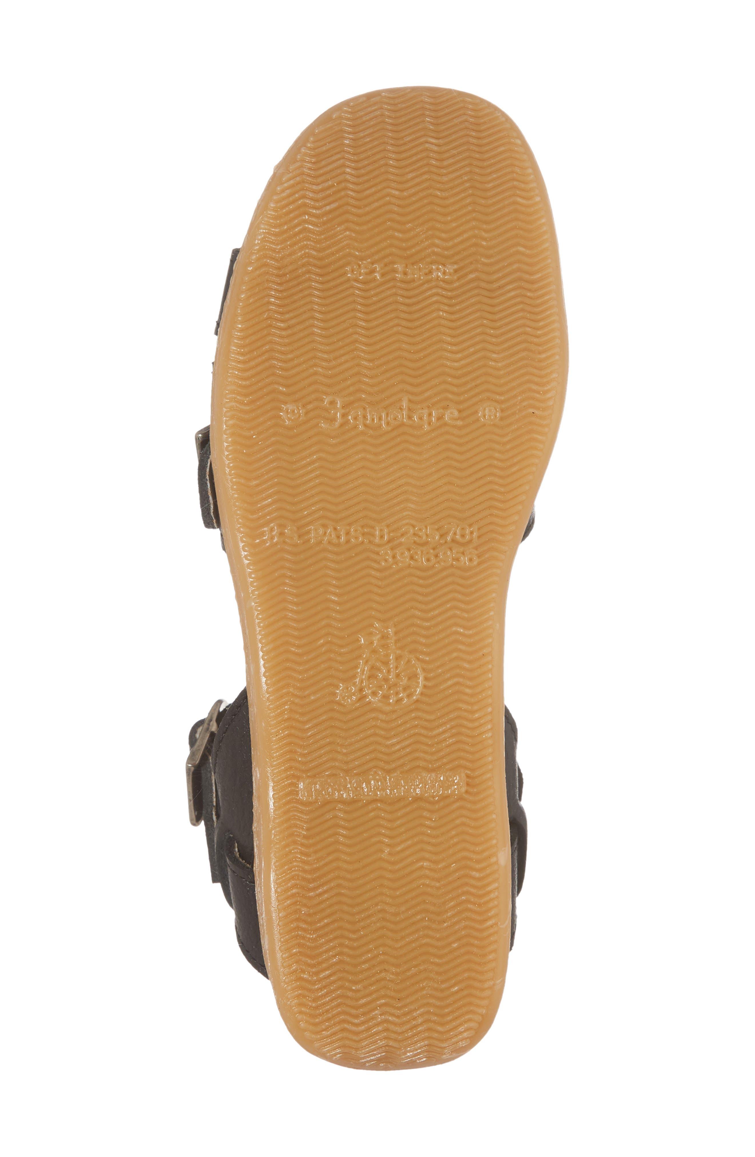 Honeybuckle Wedge Sandal,                             Alternate thumbnail 6, color,                             COAL LEATHER