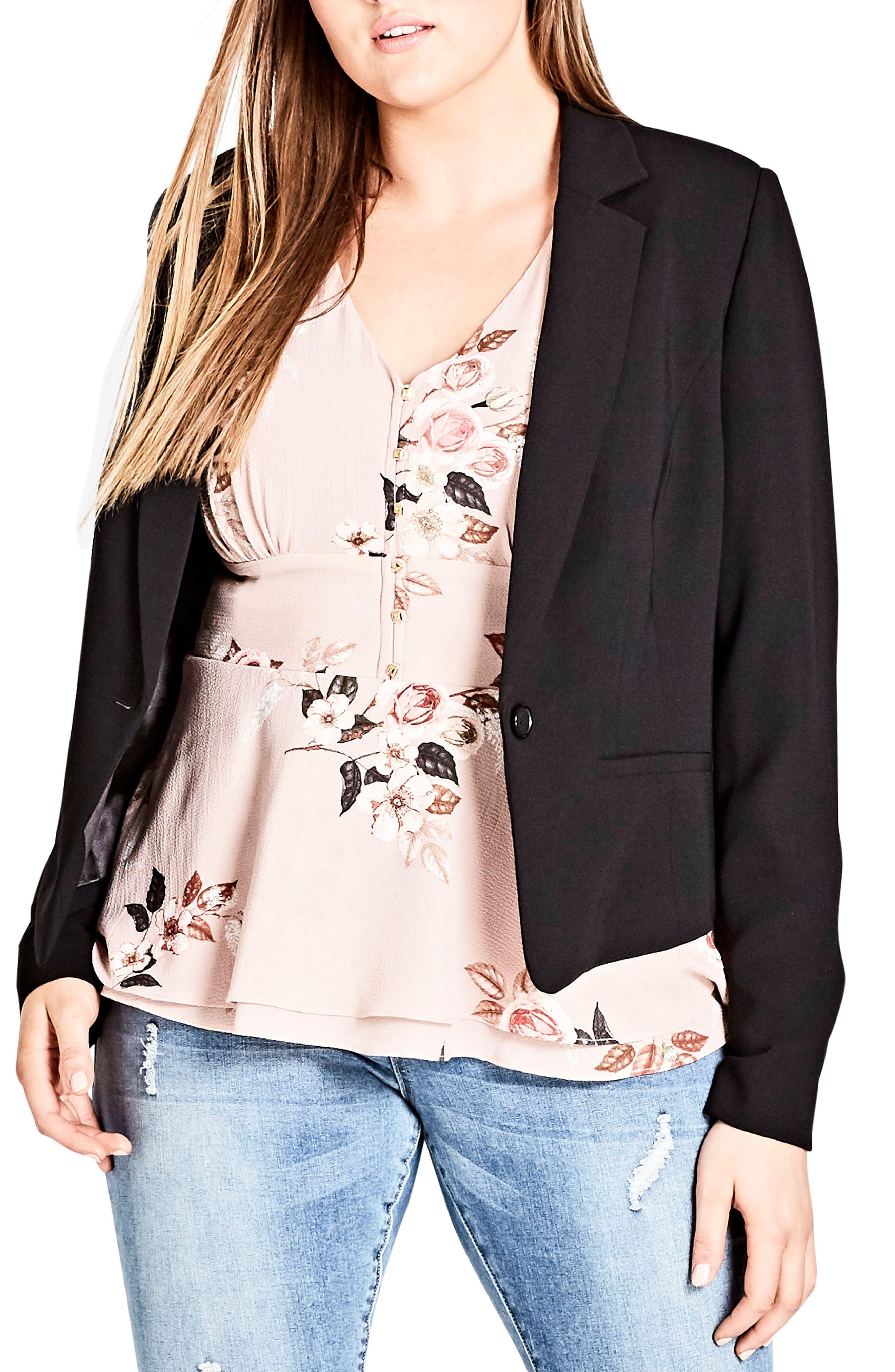 Flutter Lace Back Blazer,                             Alternate thumbnail 3, color,                             BLACK