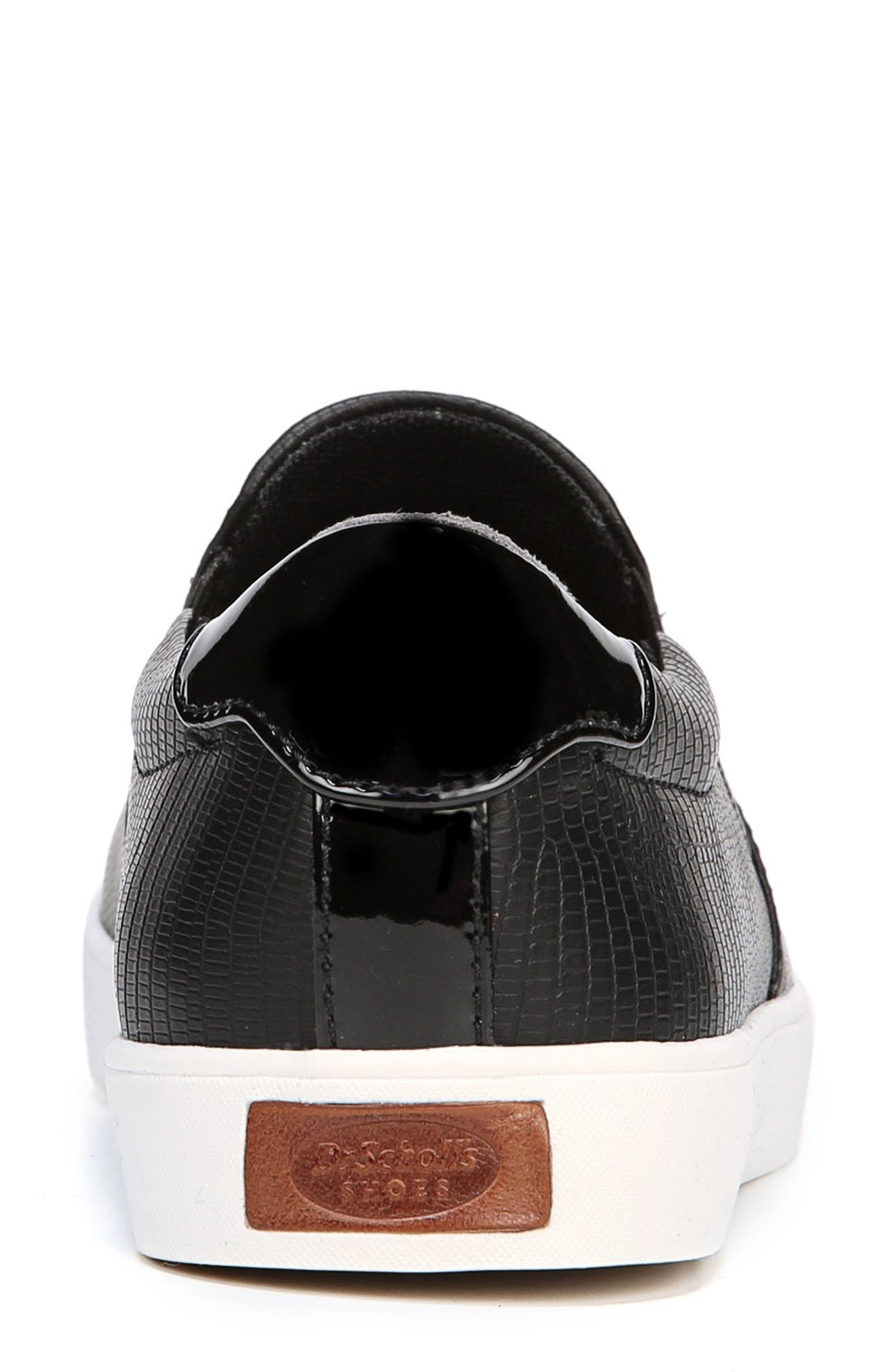 Madison Slip-On Sneaker,                             Alternate thumbnail 6, color,                             BLACK FAUX LEATHER