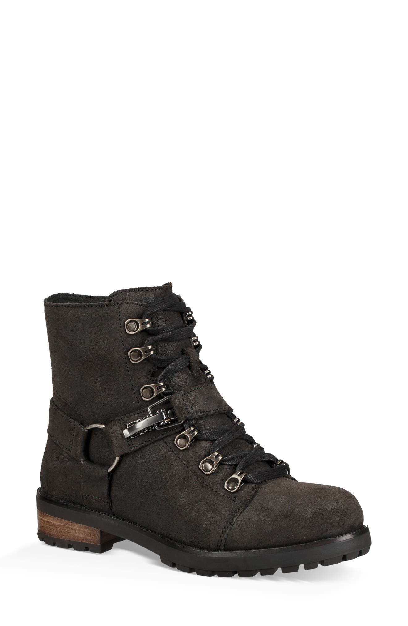 Fritzi Water Resistant Lace-Up Bootie,                         Main,                         color, BLACK LEATHER
