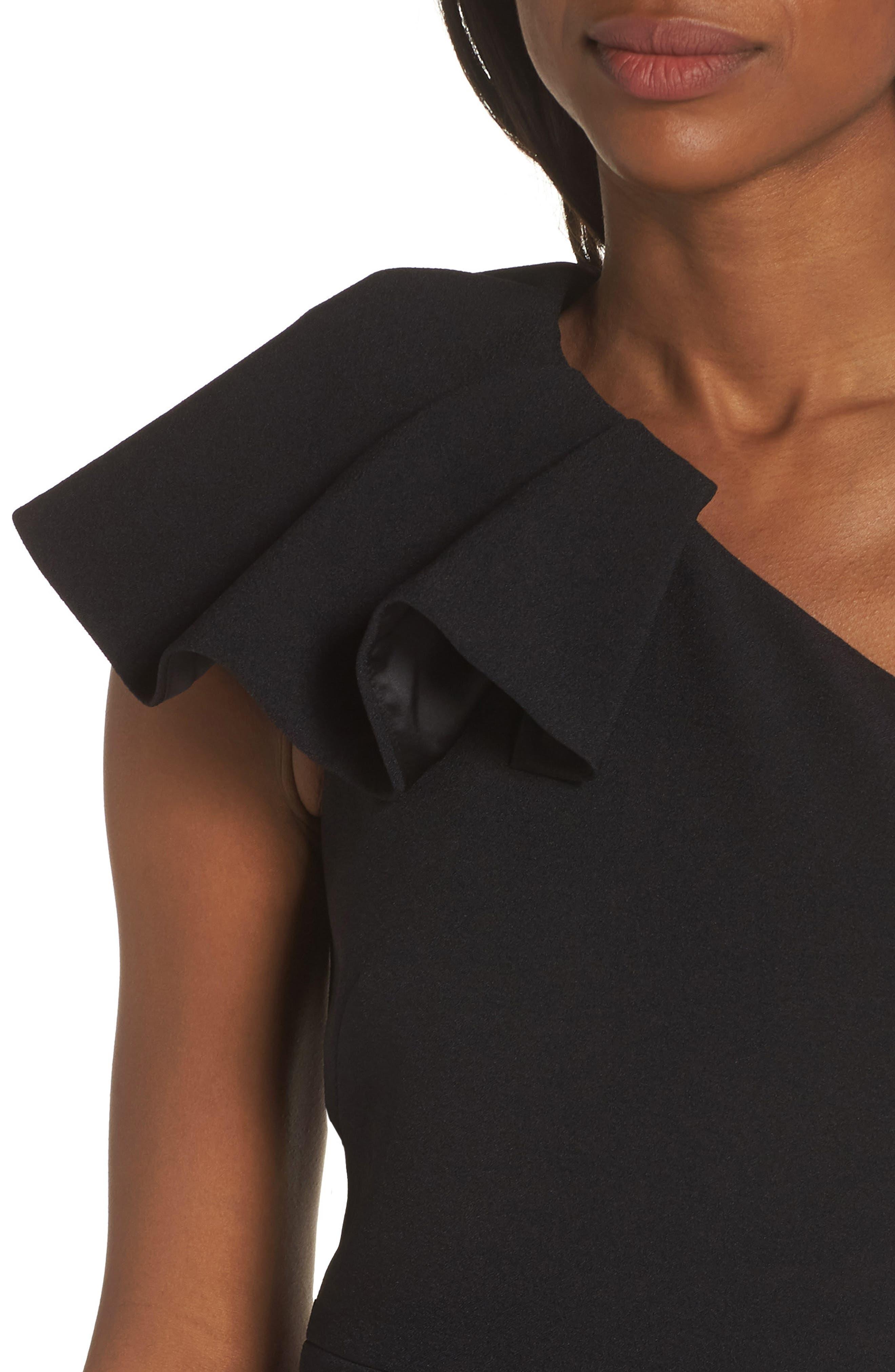 One-Shoulder Ruffle Crepe Jumpsuit,                             Alternate thumbnail 4, color,                             BLACK