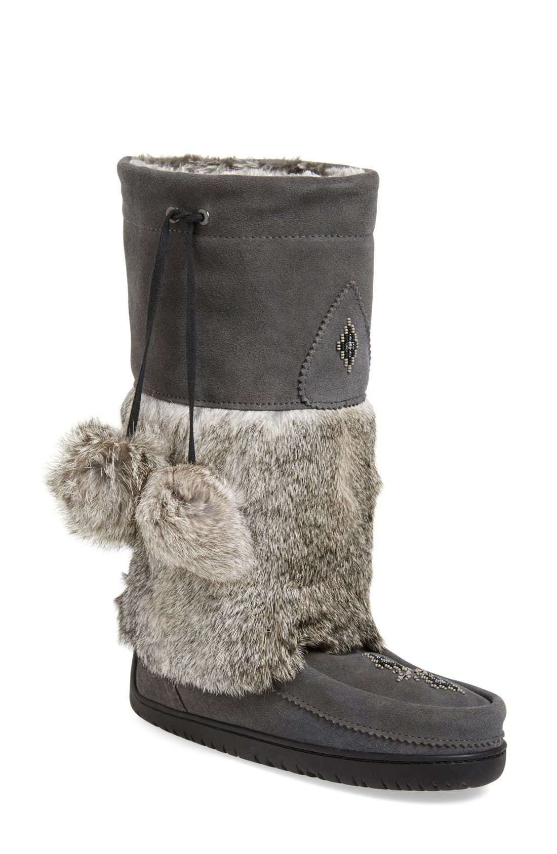 'Snowy Owl' Genuine Fur & Suede Mukluk,                             Main thumbnail 1, color,                             CHARCOAL