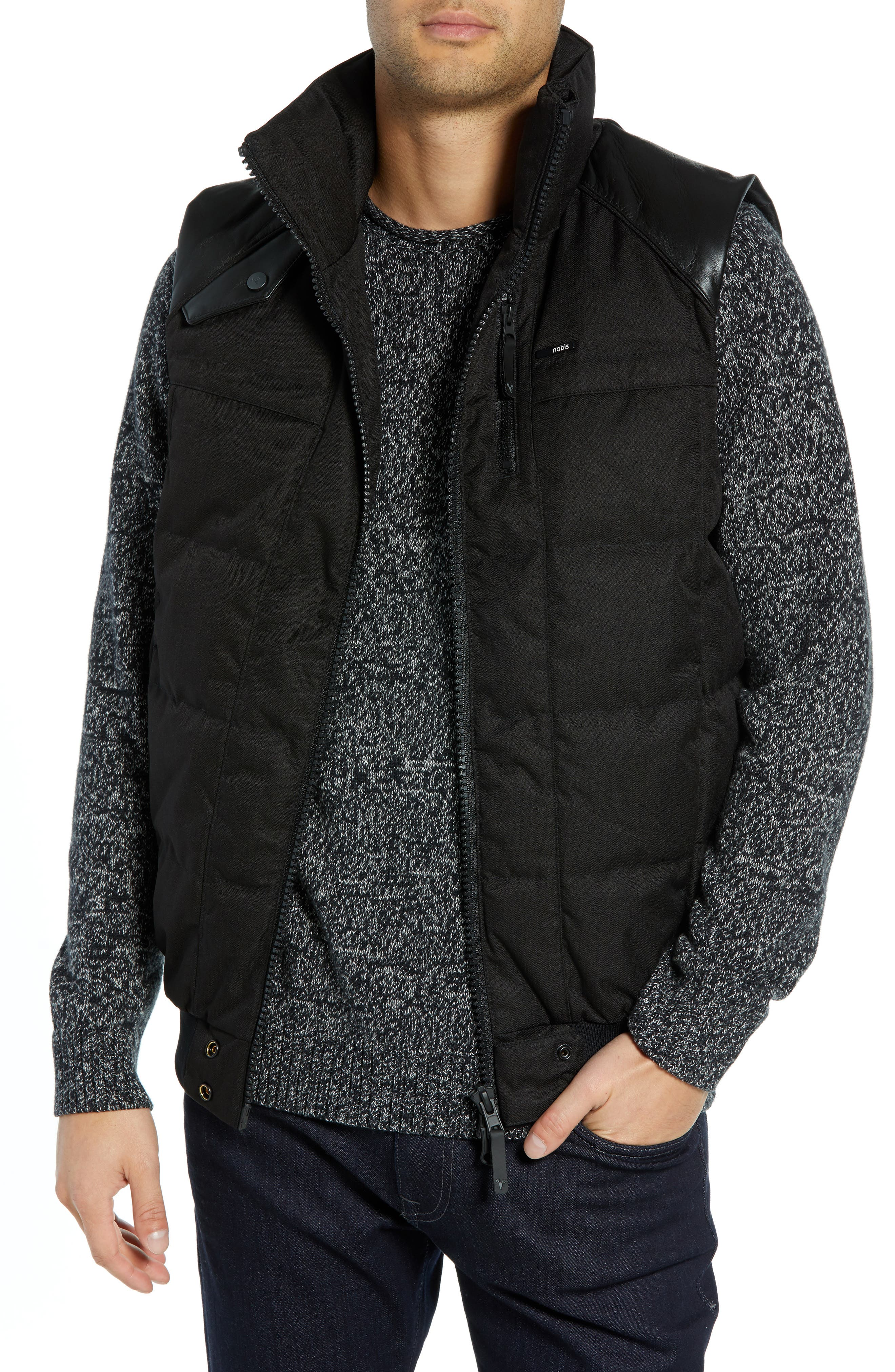 Ricky Bobby Windproof & Waterproof 650-Fill Power Down Puffer Vest,                         Main,                         color, BLACK