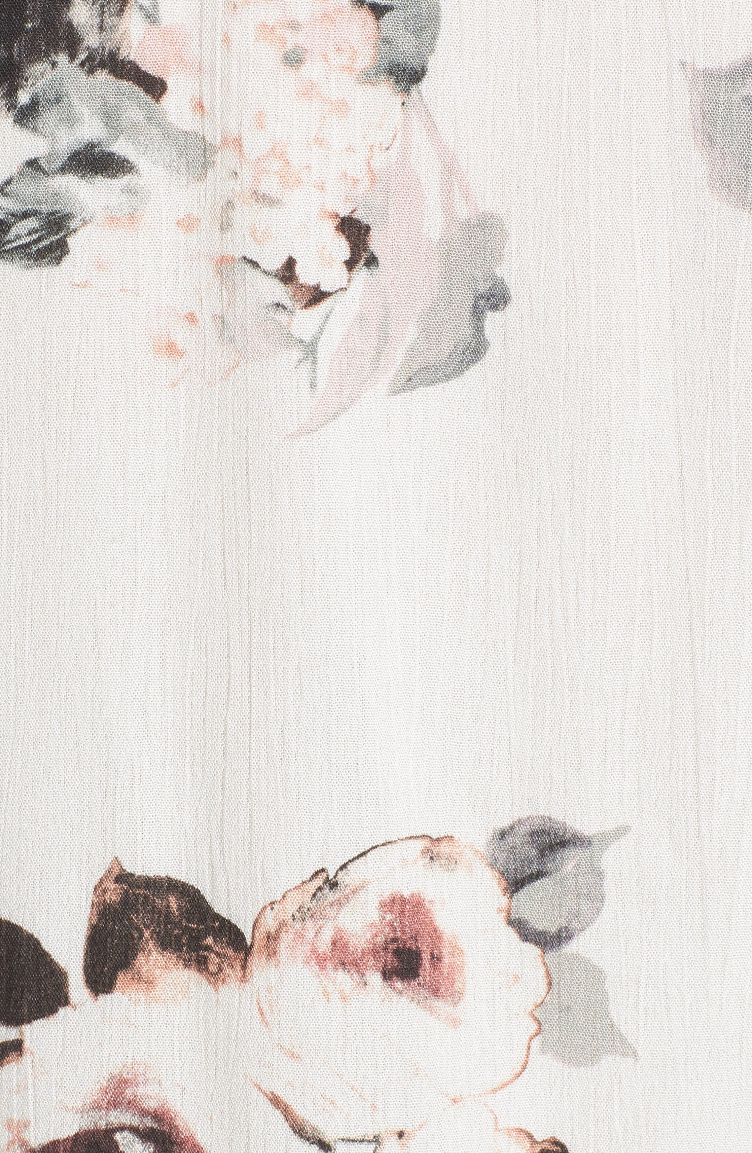Floral Tie Hem Top,                             Alternate thumbnail 6, color,                             100
