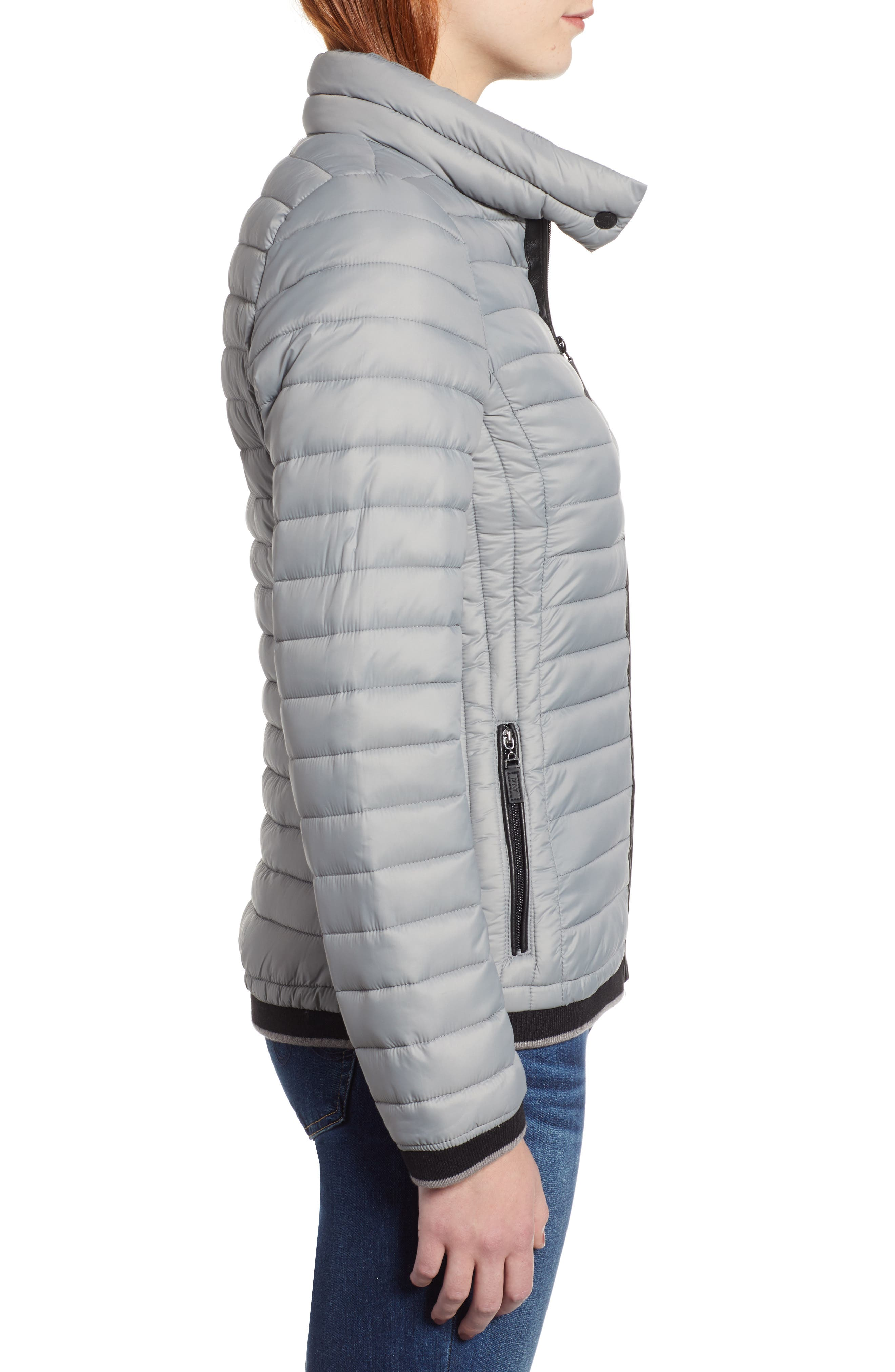 Stripe Trim Packable Down Jacket,                             Alternate thumbnail 3, color,                             STERLING