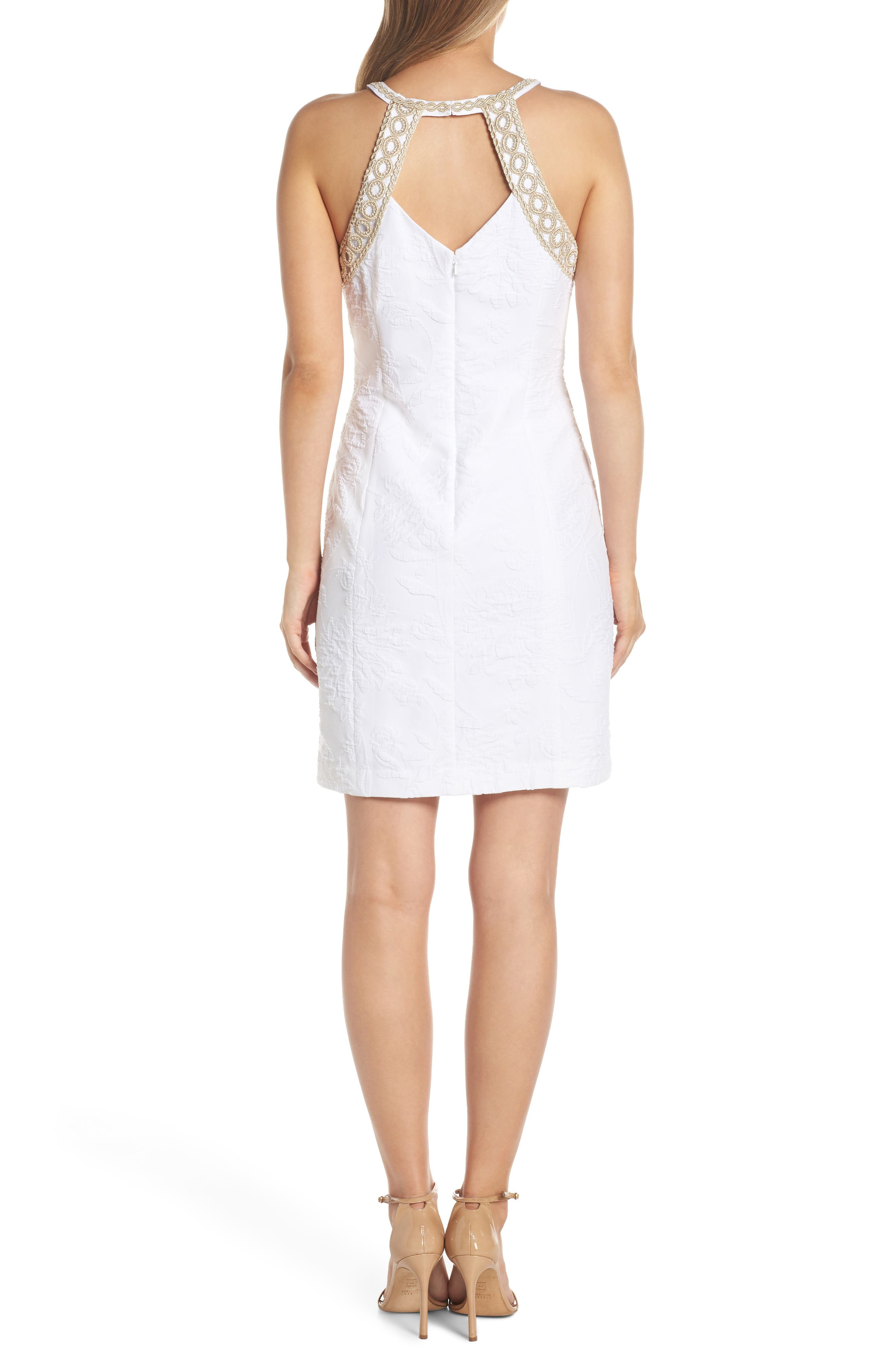Pearl Stretch Shift Dress,                             Alternate thumbnail 2, color,                             RESORT WHITE CALIENTE PU