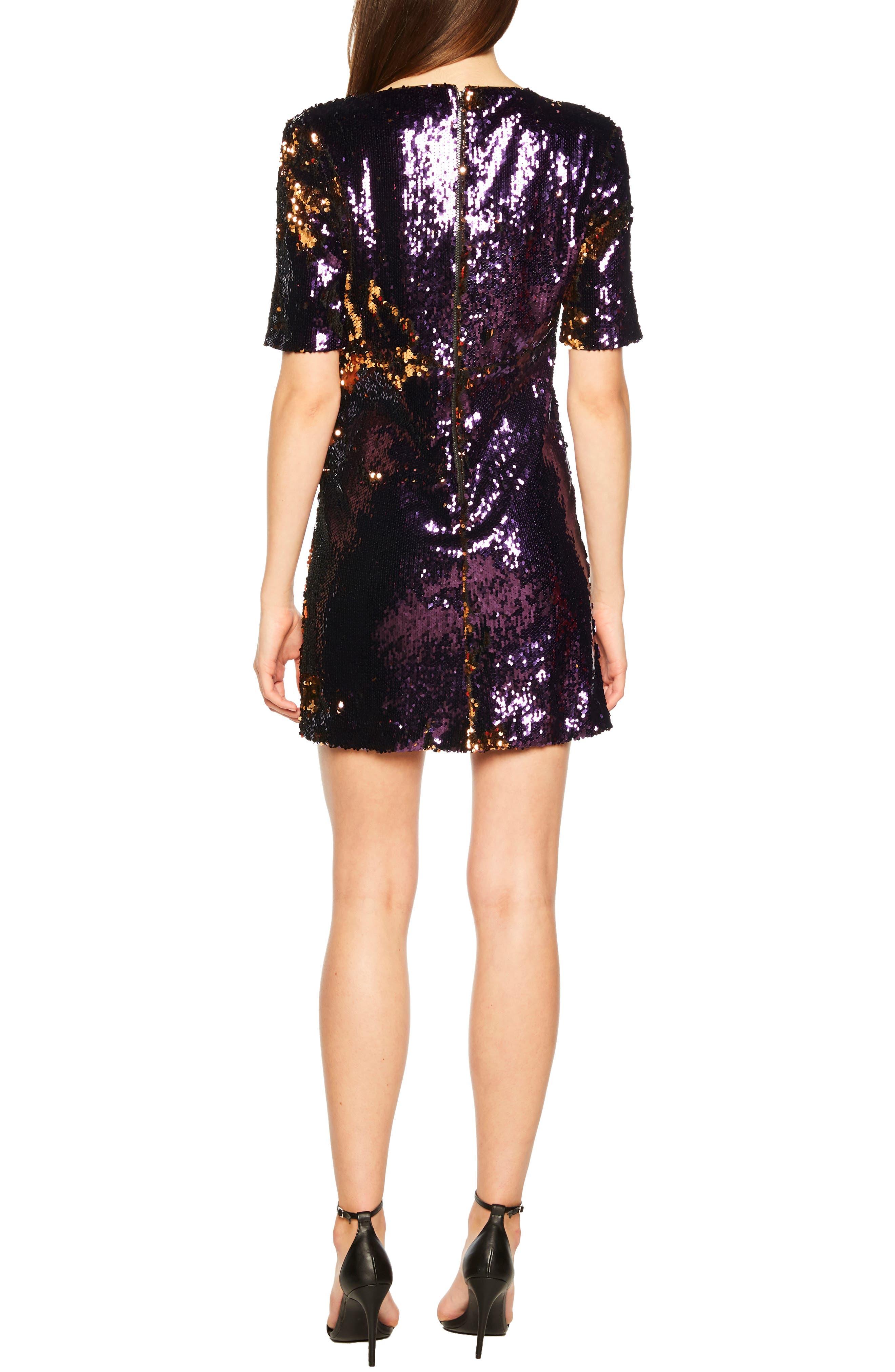 Sequin Embellished Dress,                             Alternate thumbnail 2, color,                             GOLD/ PURPLE