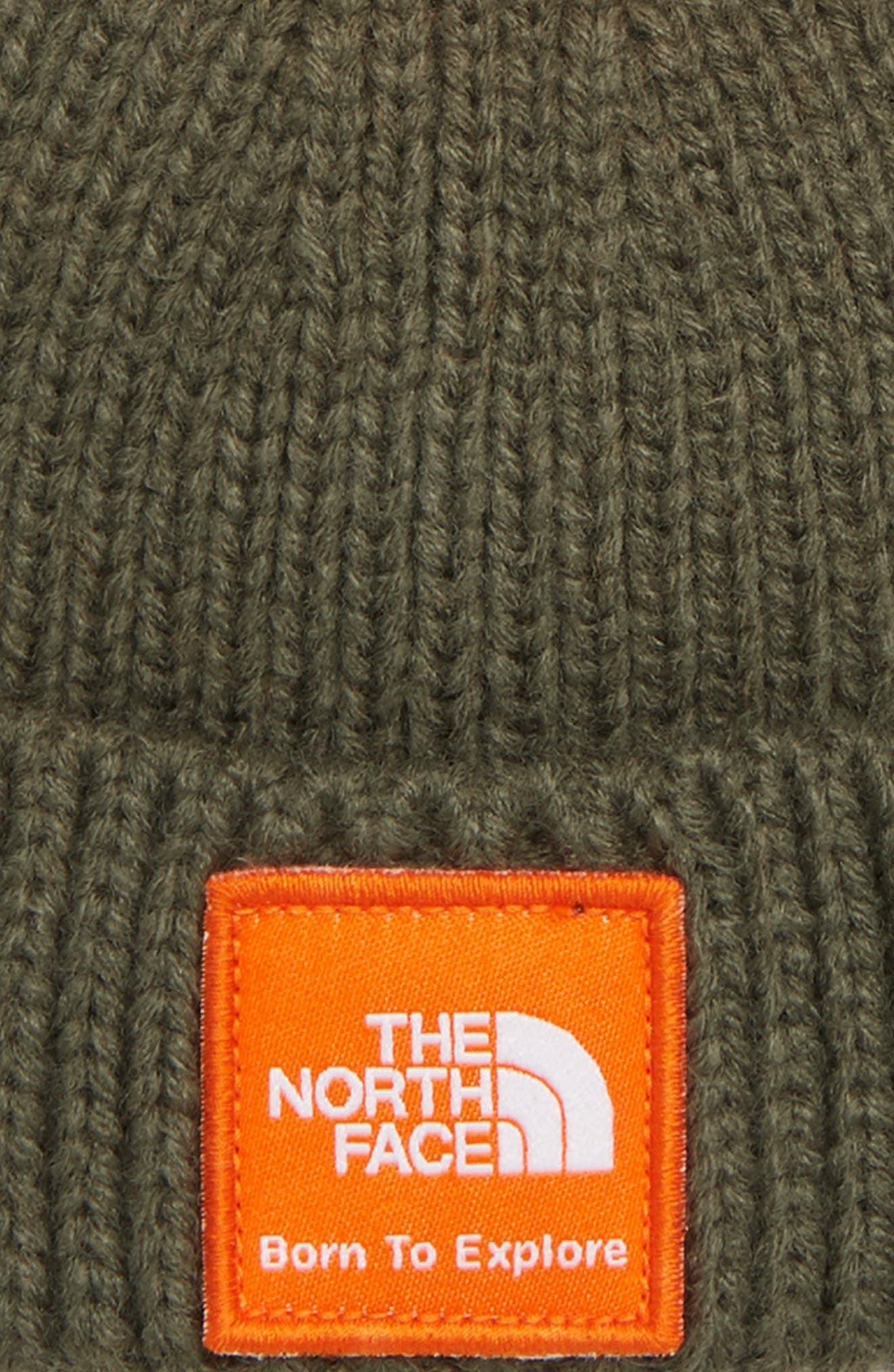 Box Logo Pom Beanie,                             Alternate thumbnail 3, color,                             GREEN CAMO/ PERSIAN ORANGE