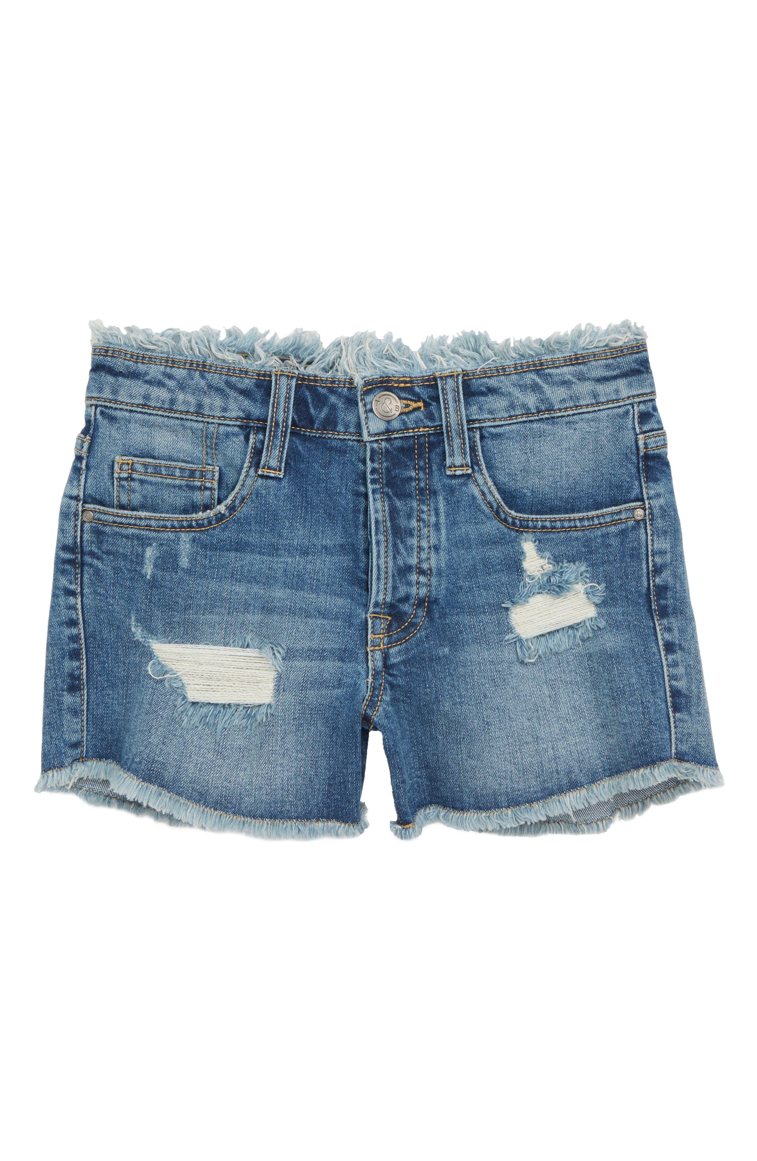 Festival Distressed Cutoff Denim Shorts,                         Main,                         color, 401