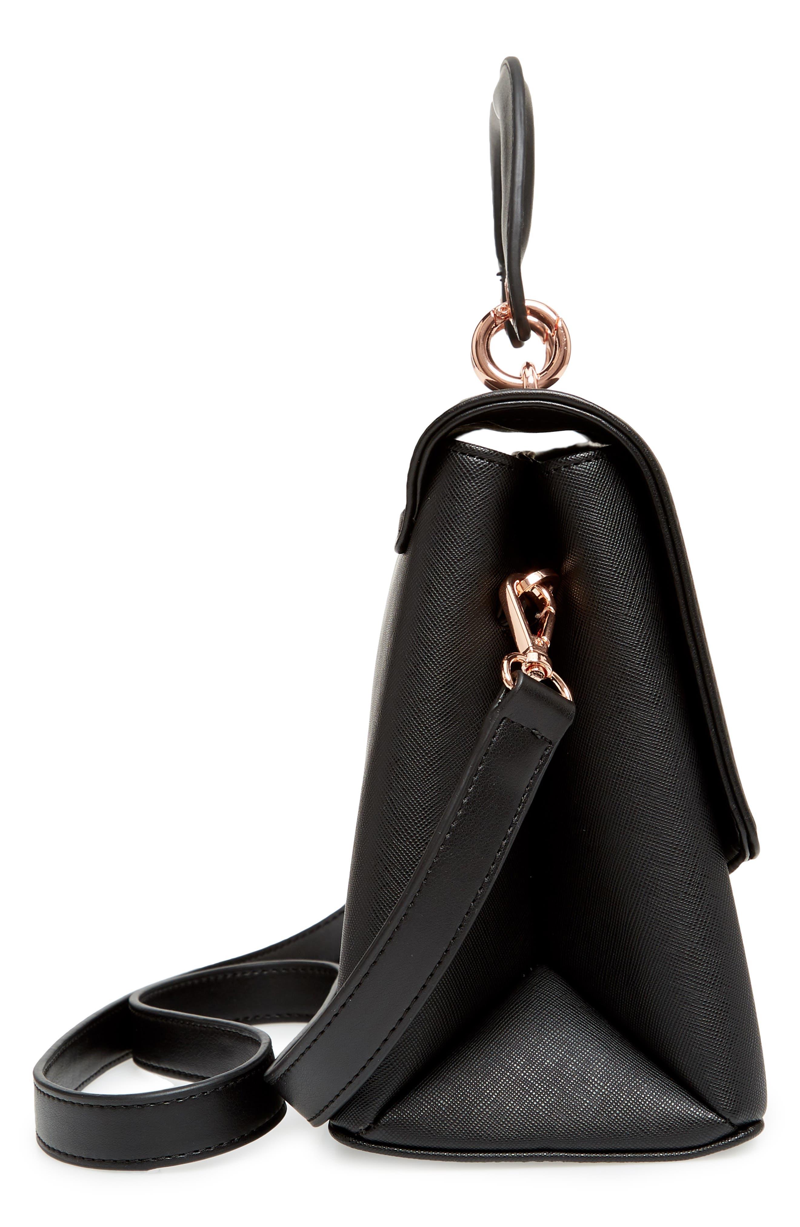 Keiira Lady Bag Faux Leather Top Handle Satchel,                             Alternate thumbnail 5, color,                             001