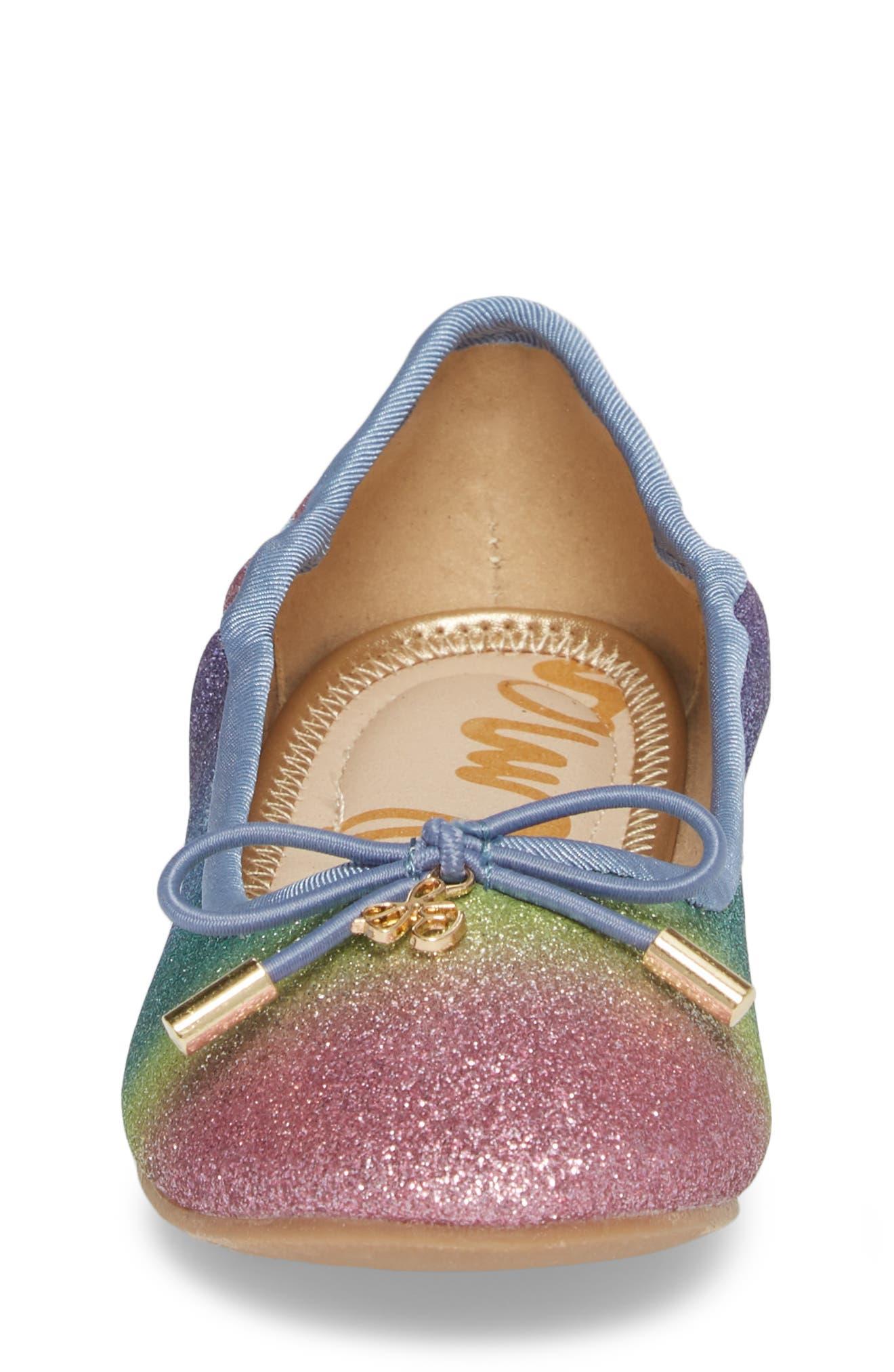 Felicia Glitter Ballet Flat,                             Alternate thumbnail 4, color,                             RAINBOW OMBRE