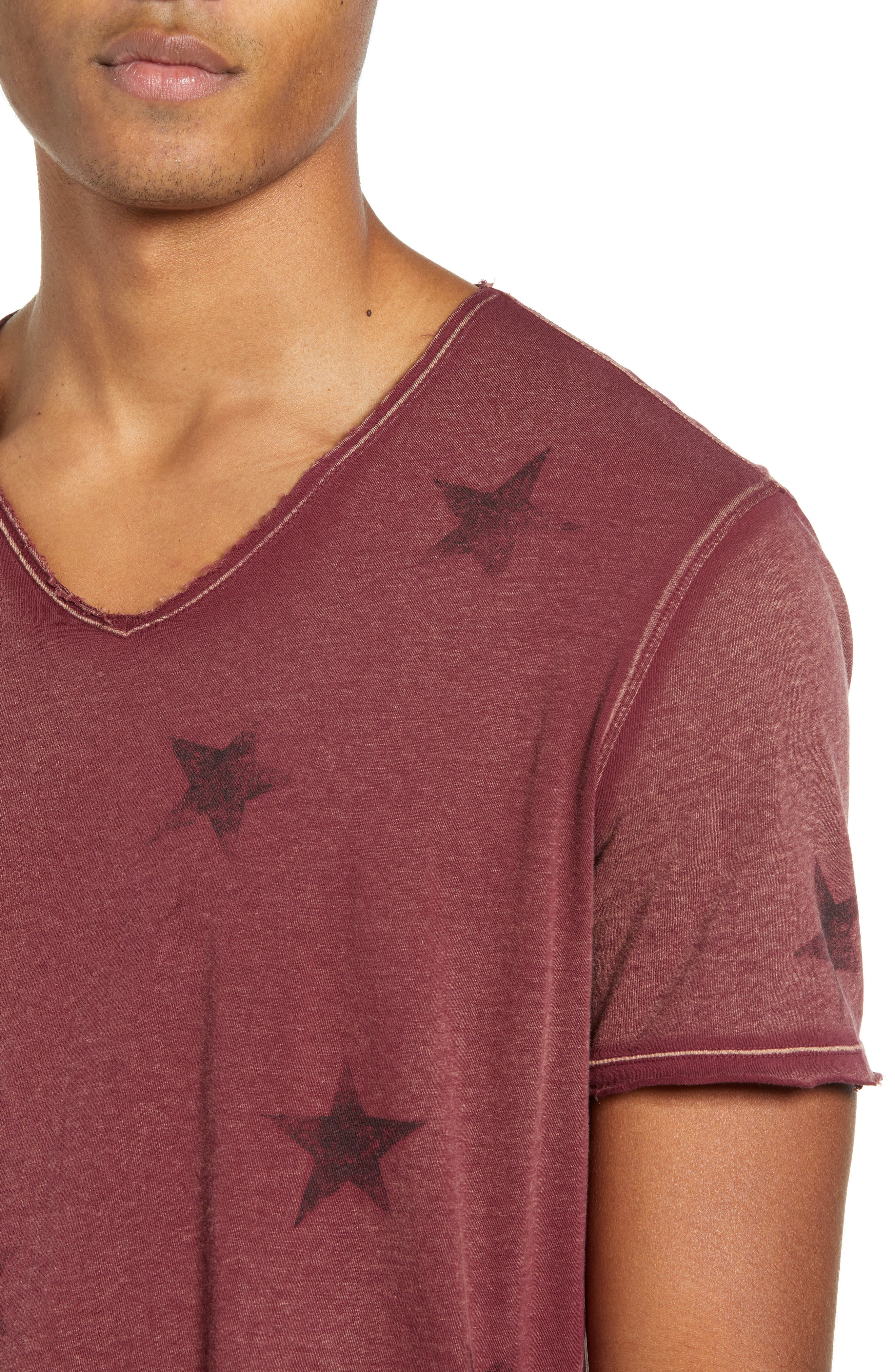 Star Print T-Shirt,                             Alternate thumbnail 4, color,                             OXBLOOD