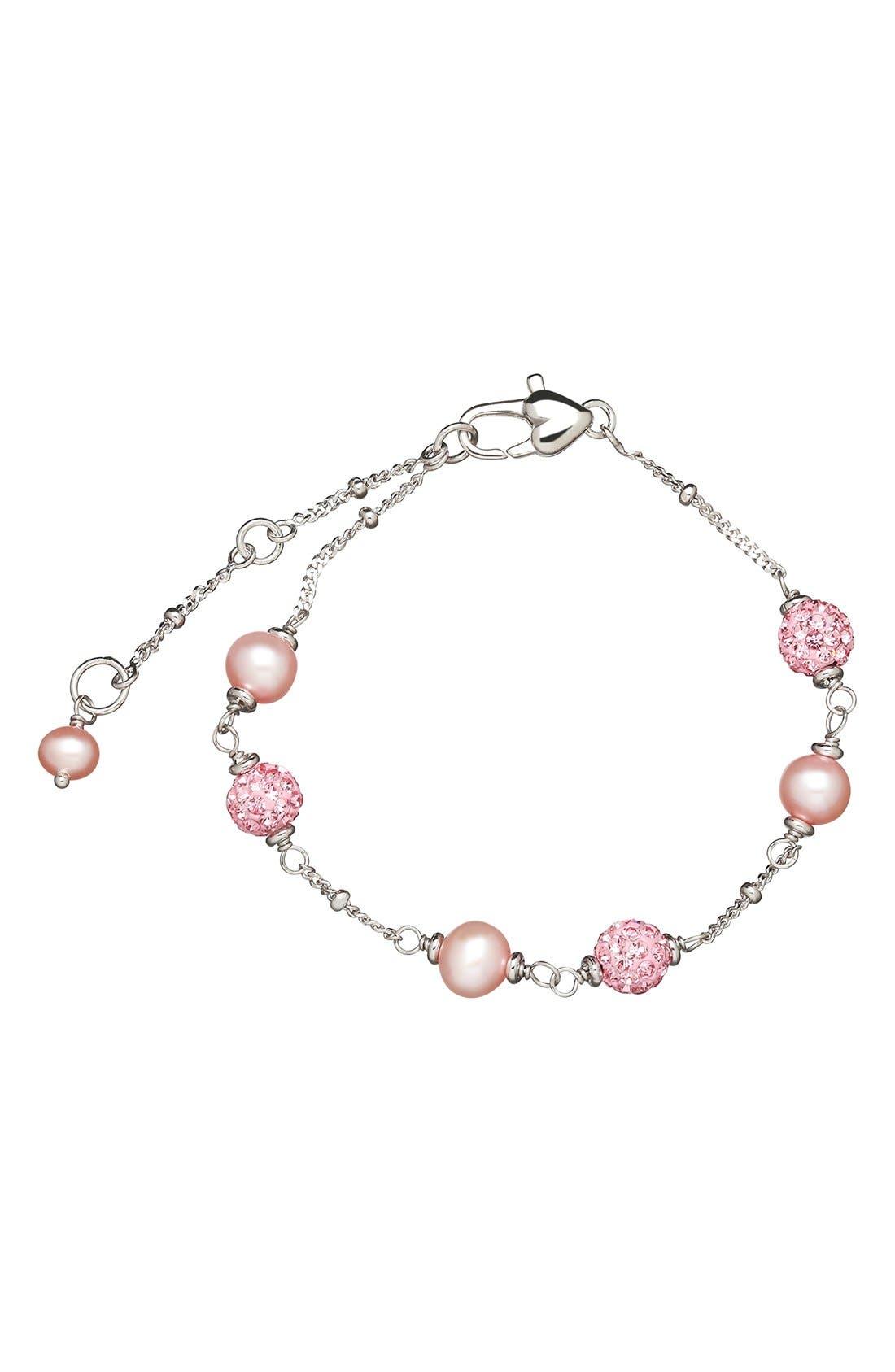 Crystal & Freshwater Pearl Station Bracelet,                             Alternate thumbnail 2, color,                             650