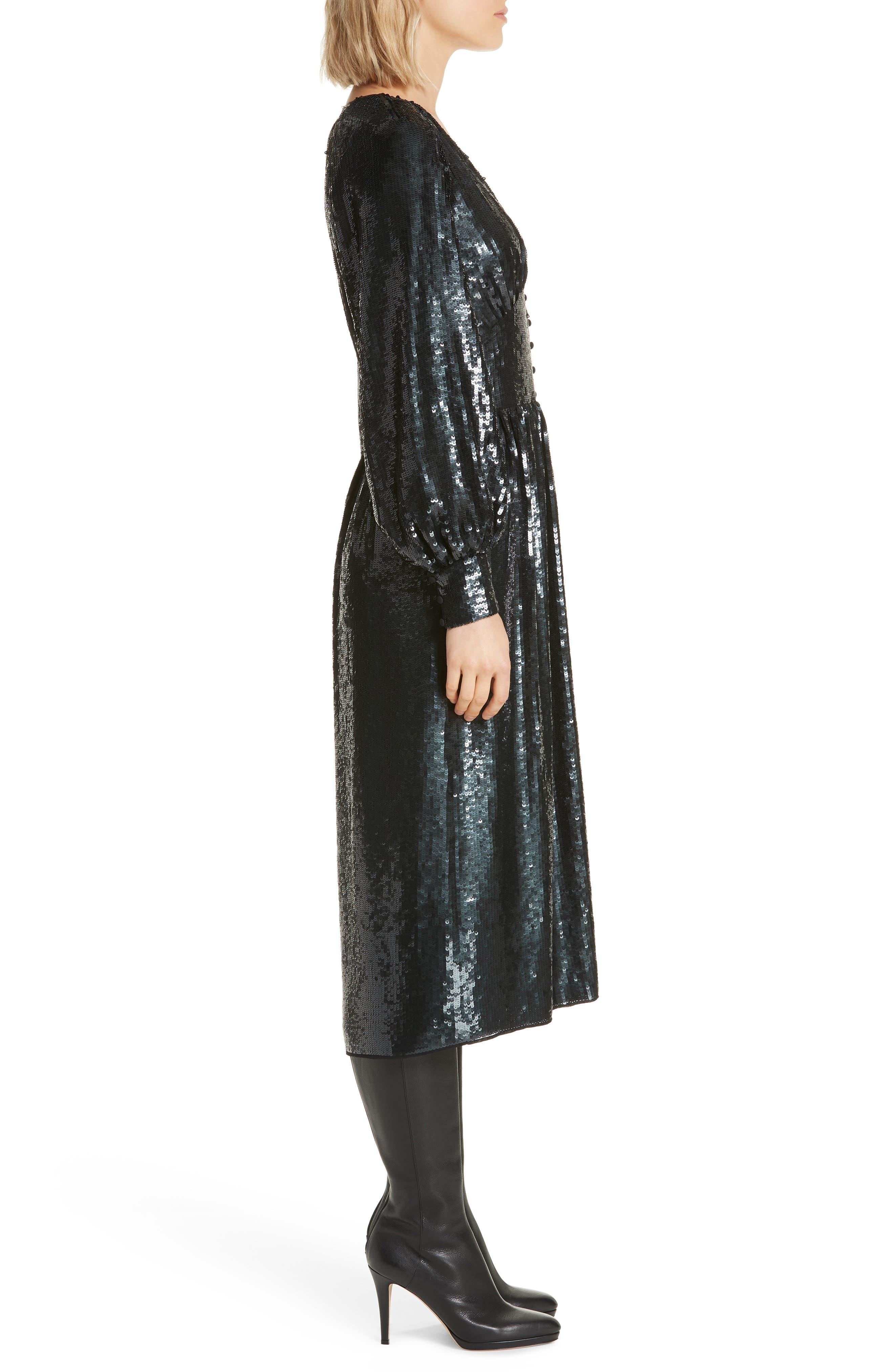 Kyria B Sequin Midi Dress,                             Alternate thumbnail 3, color,                             001