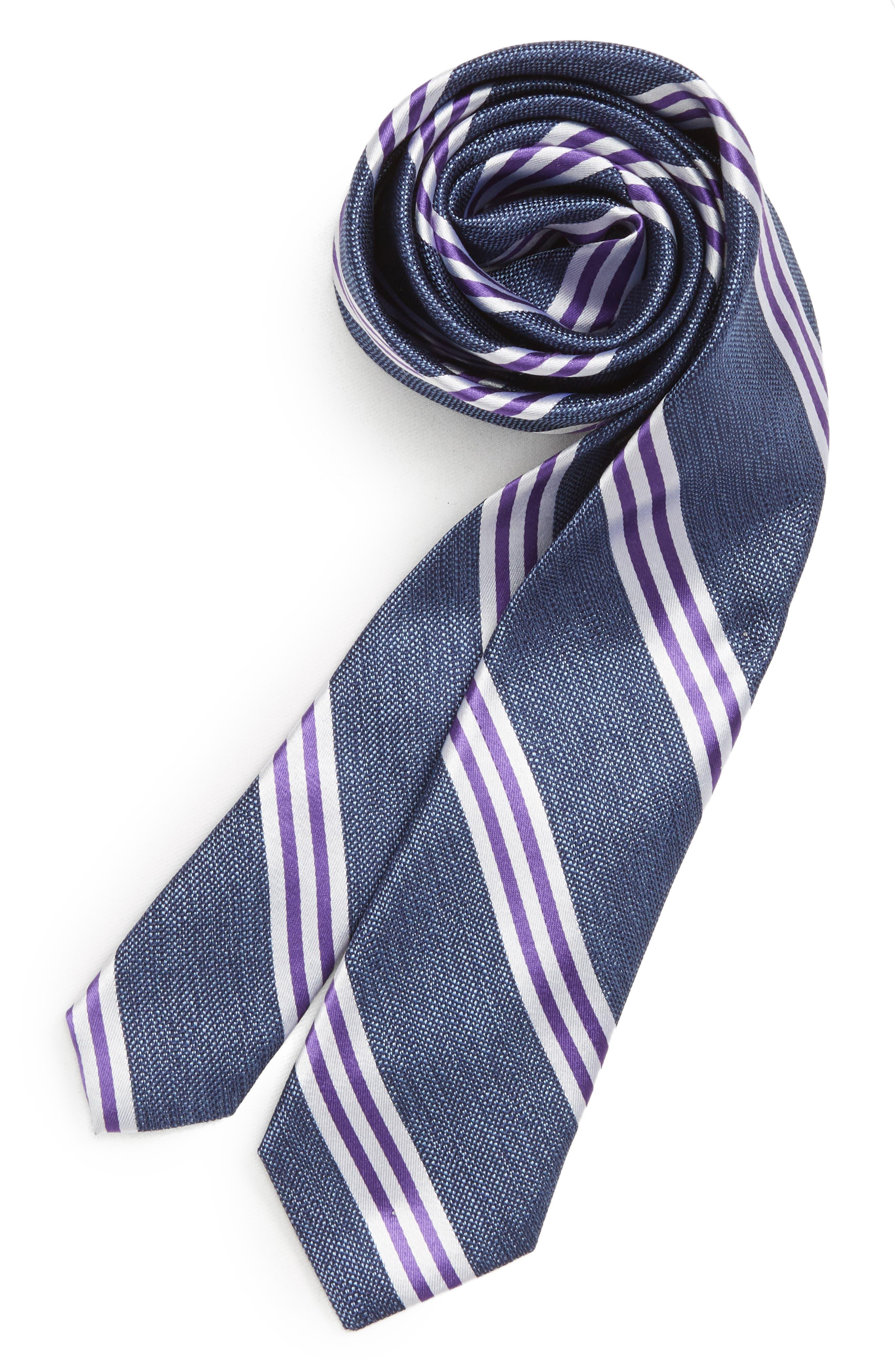 Stripe Silk Tie,                         Main,                         color, PURPLE