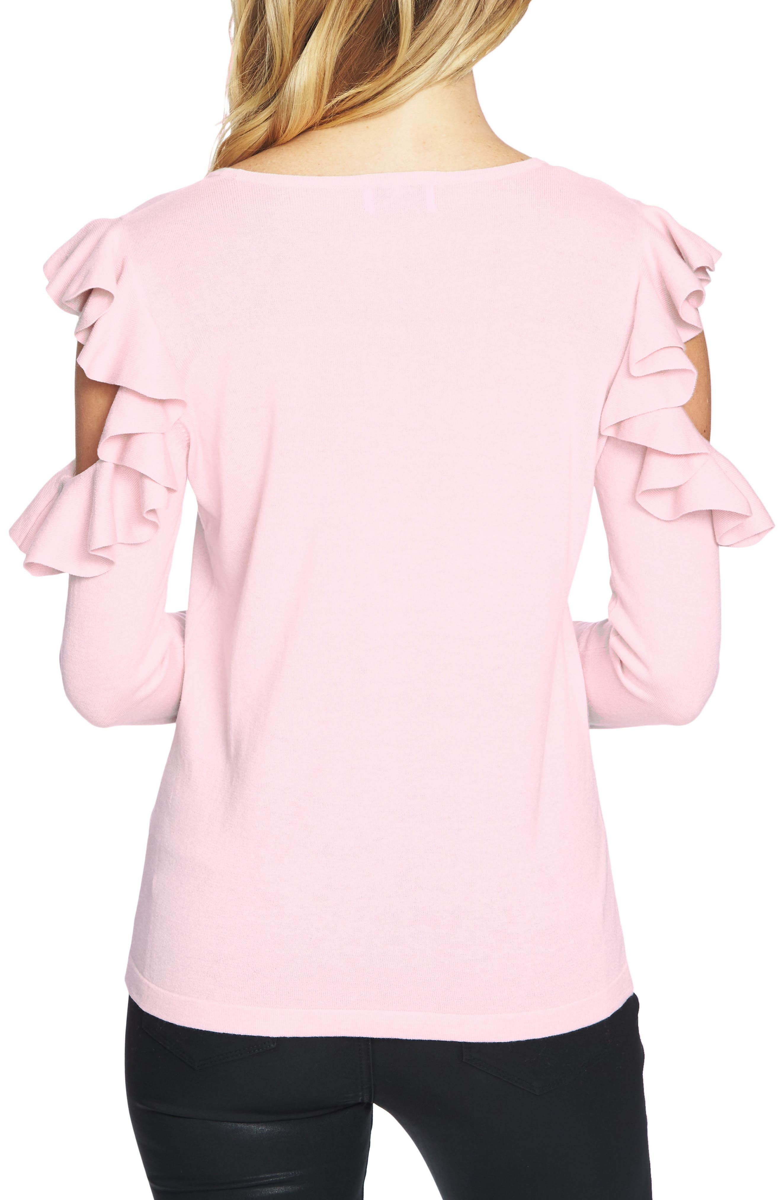 Ruffled Cold Shoulder Sweater,                             Alternate thumbnail 11, color,